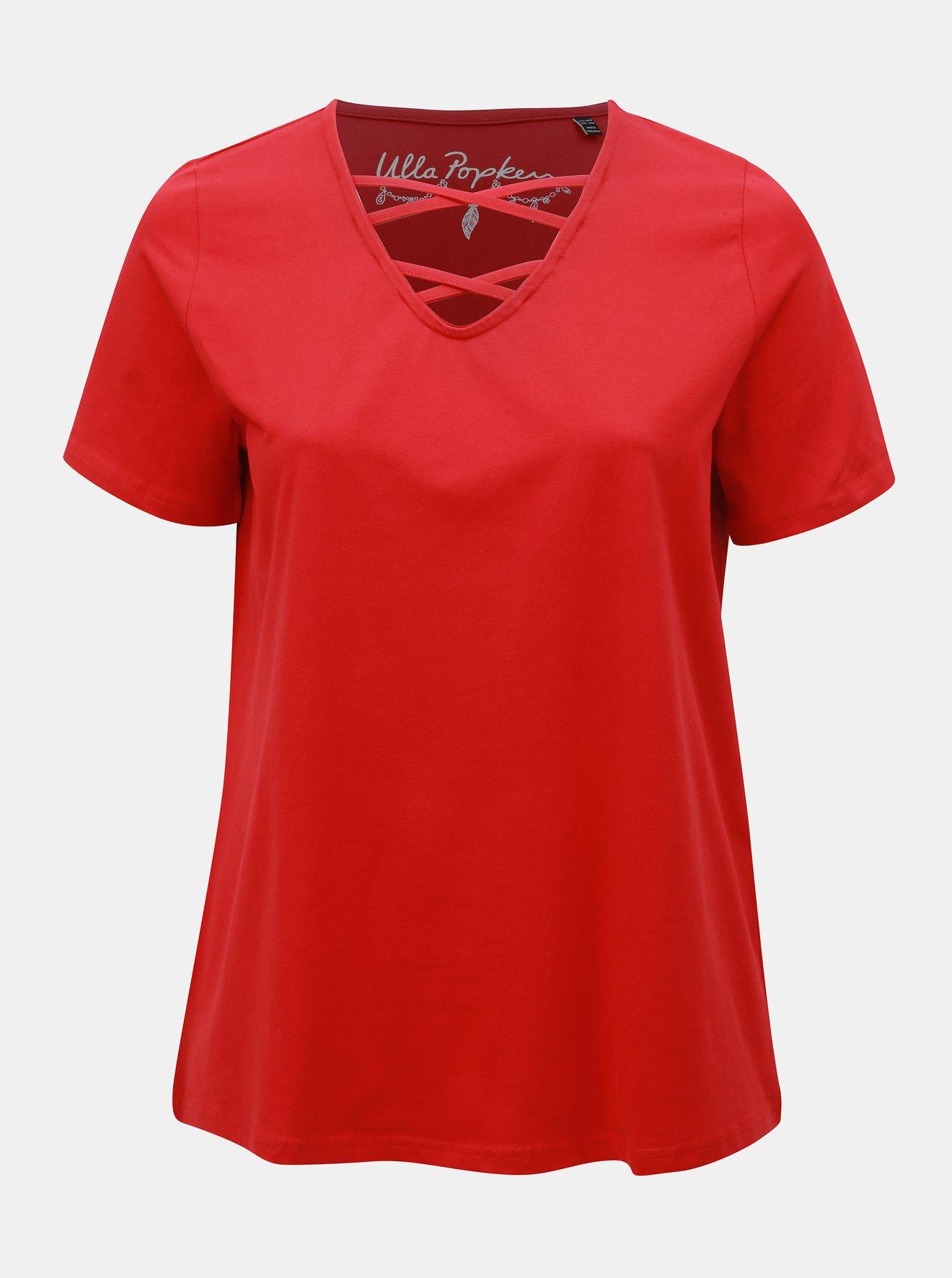 Červené tričko v pásky v dekoltu Ulla Popken