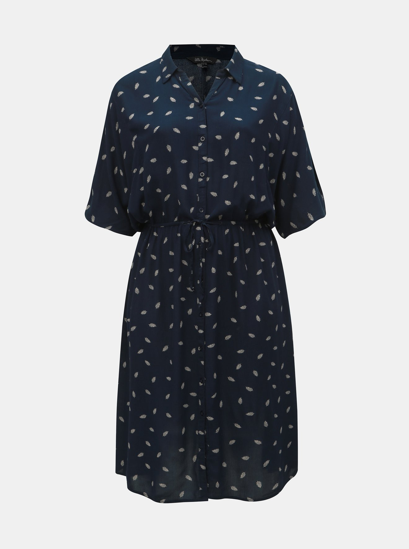 Tmavě modré vzorované košilové midišaty Ulla Popken