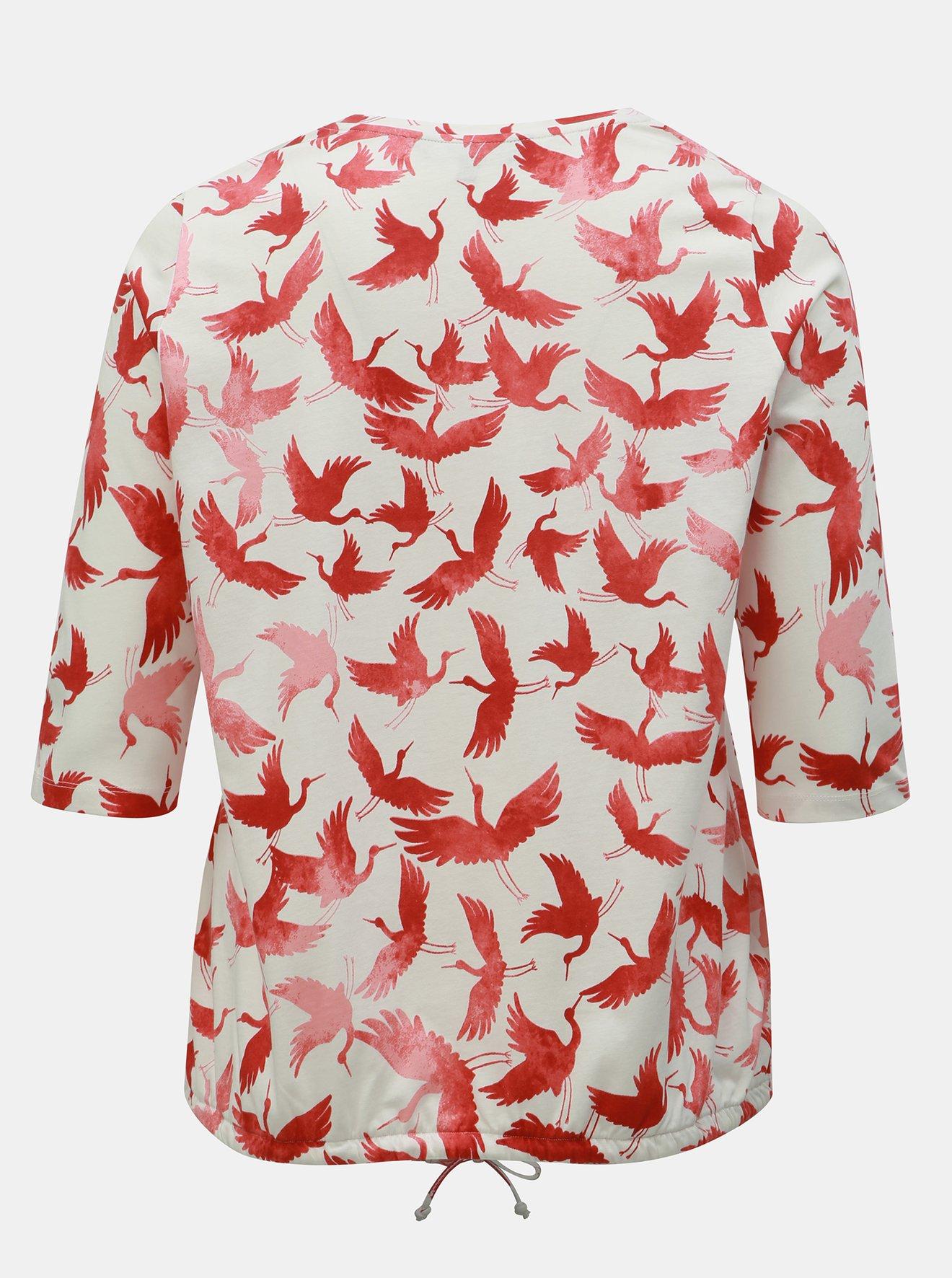 Krémové vzorované tričko Ulla Popken