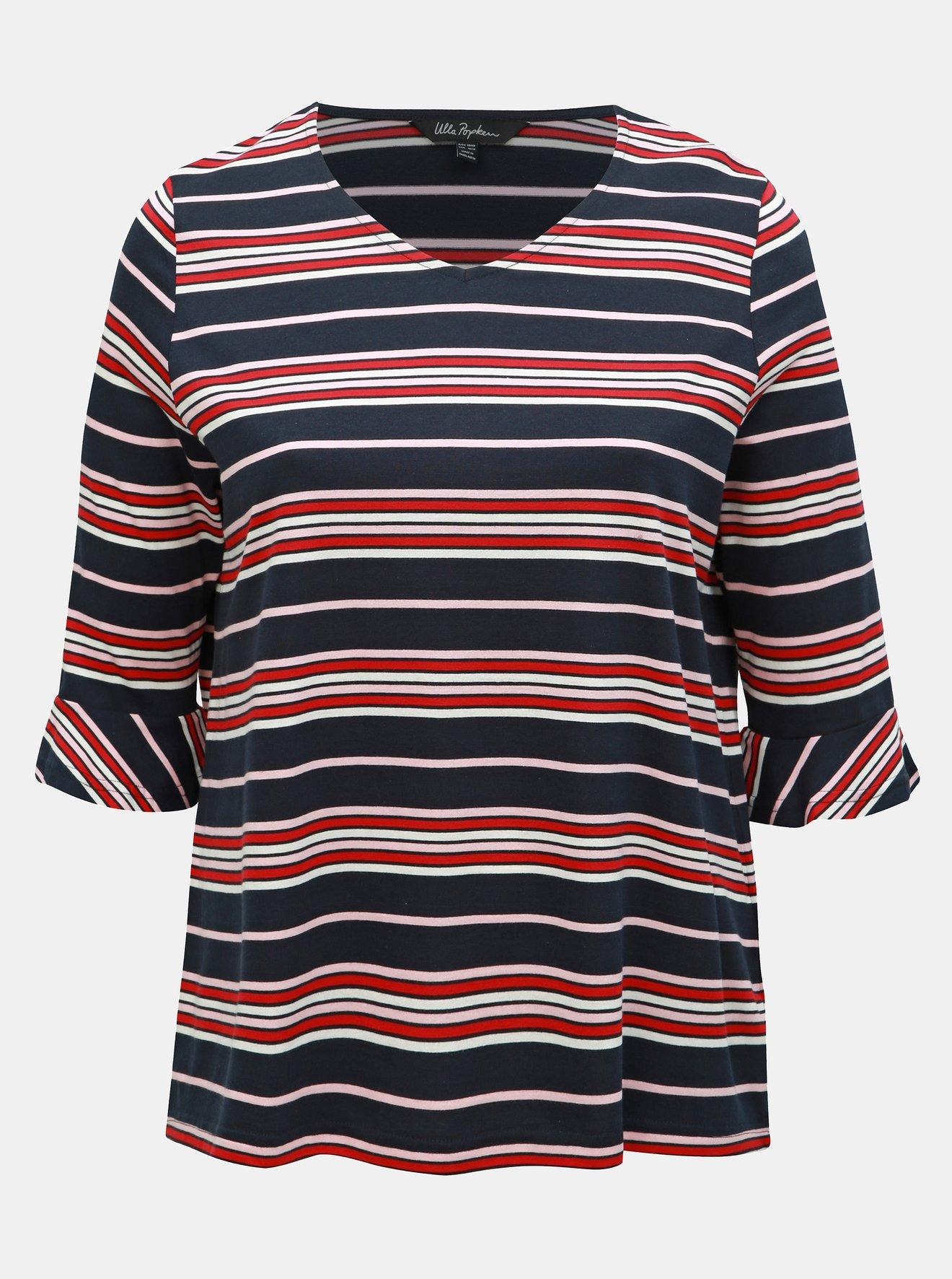 Červeno-modré pruhované tričko s volány Ulla Popken