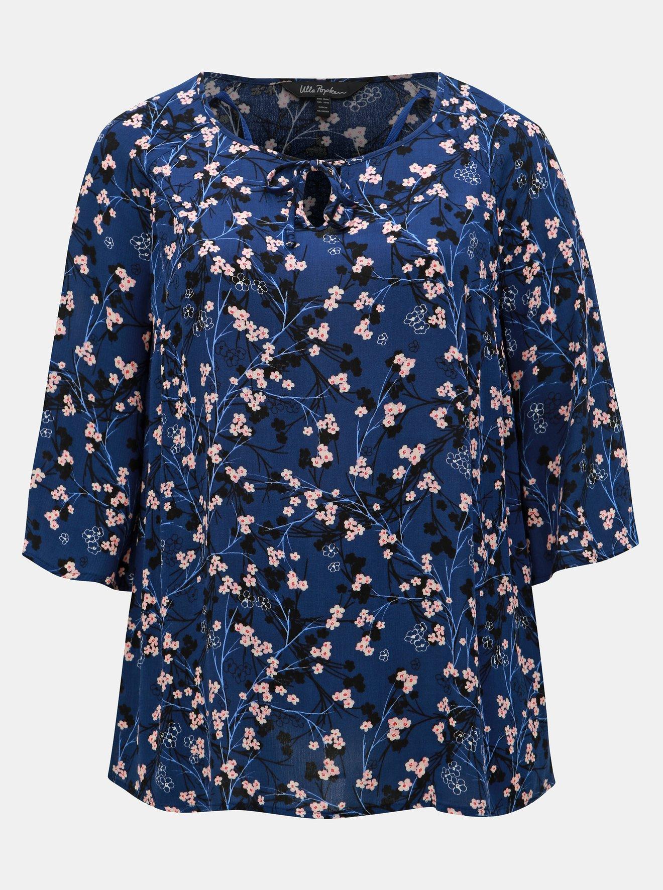 Tmavě modrá květovaná halenka Ulla Popken