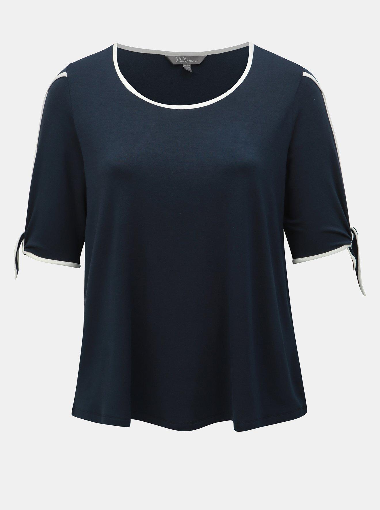 Tmavě modré tričko s průstřihy Ulla Popken