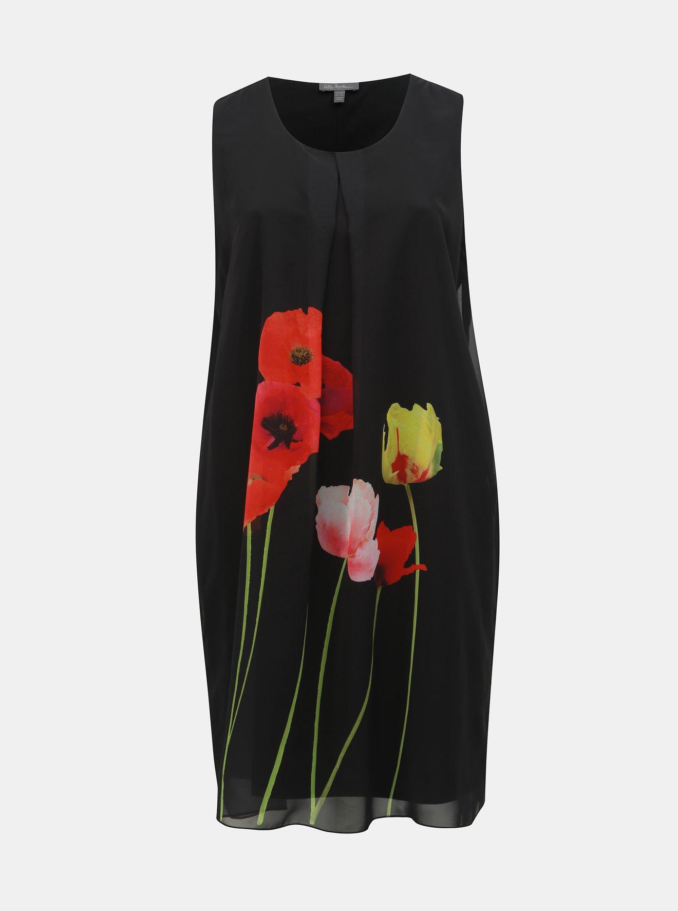 Černé květované šaty Ulla Popken