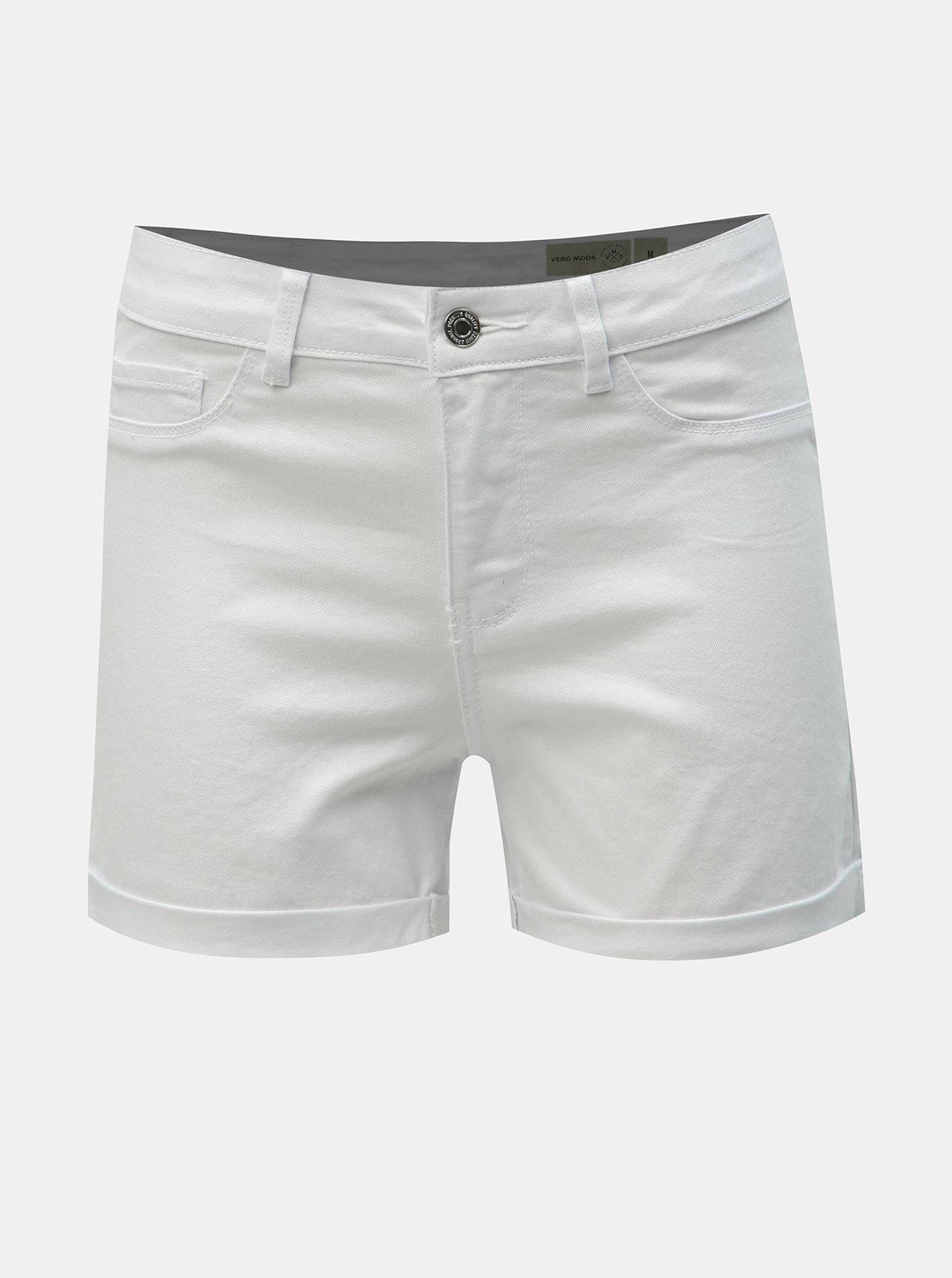 Bílé džínové kraťasy VERO MODA Hot Seven
