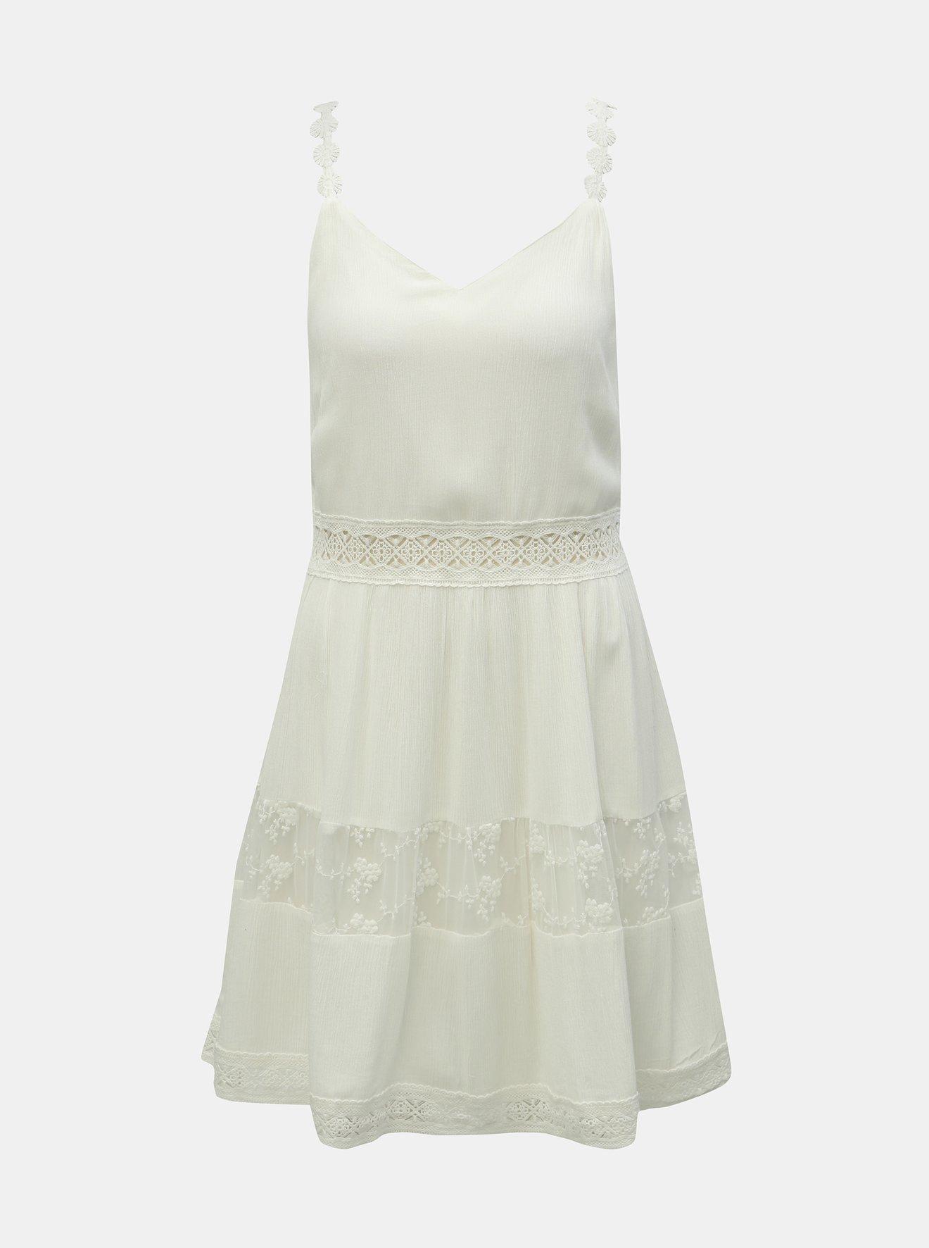 Bílé šaty na ramínka s krajkovými detaily ONLY Karmen Anne