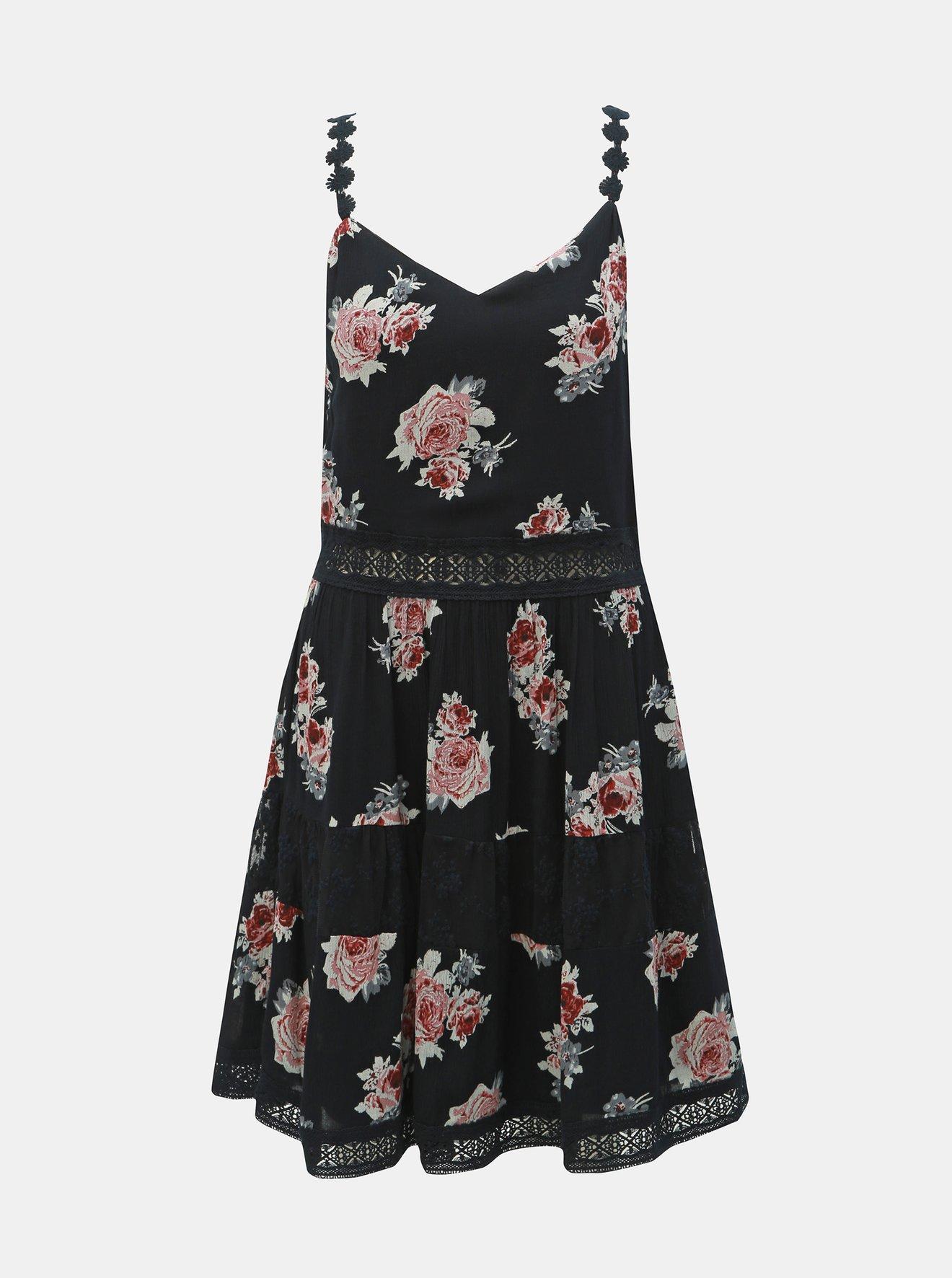 Černé květované šaty na ramínka s krajkovými detaily ONLY Karmen Anne