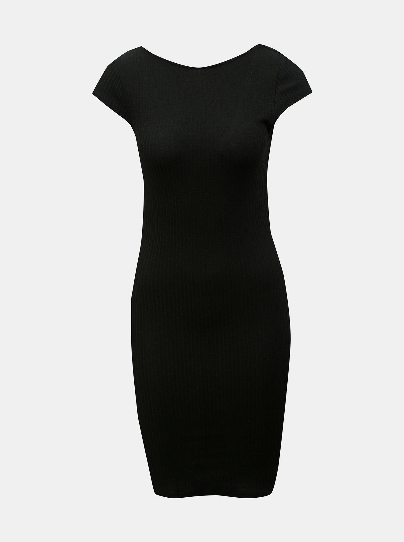 Černé žebrované pouzdrové šaty ONLY Pablo