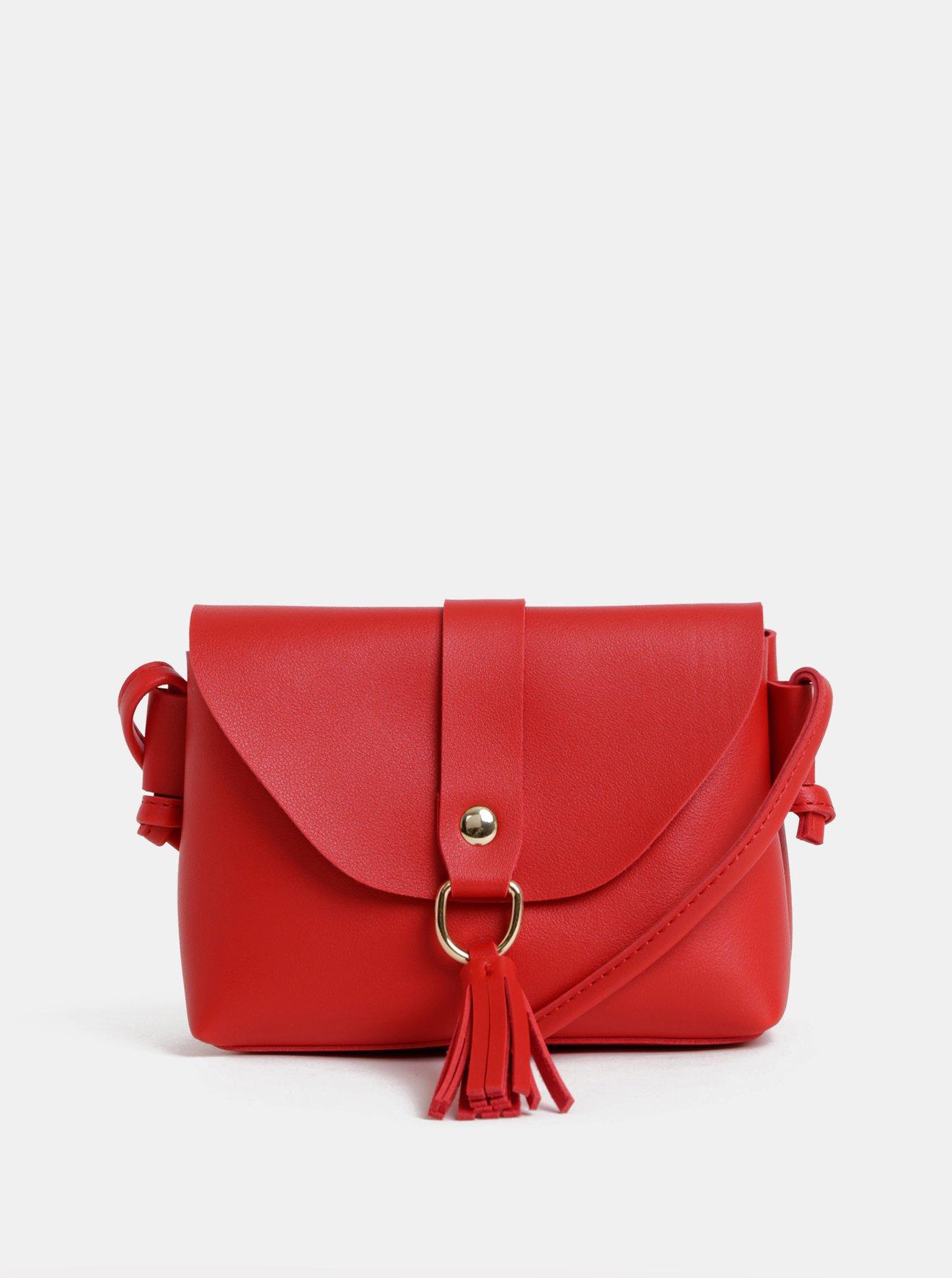 Červená crossbody kabelka se střapcem  Dorothy Perkins