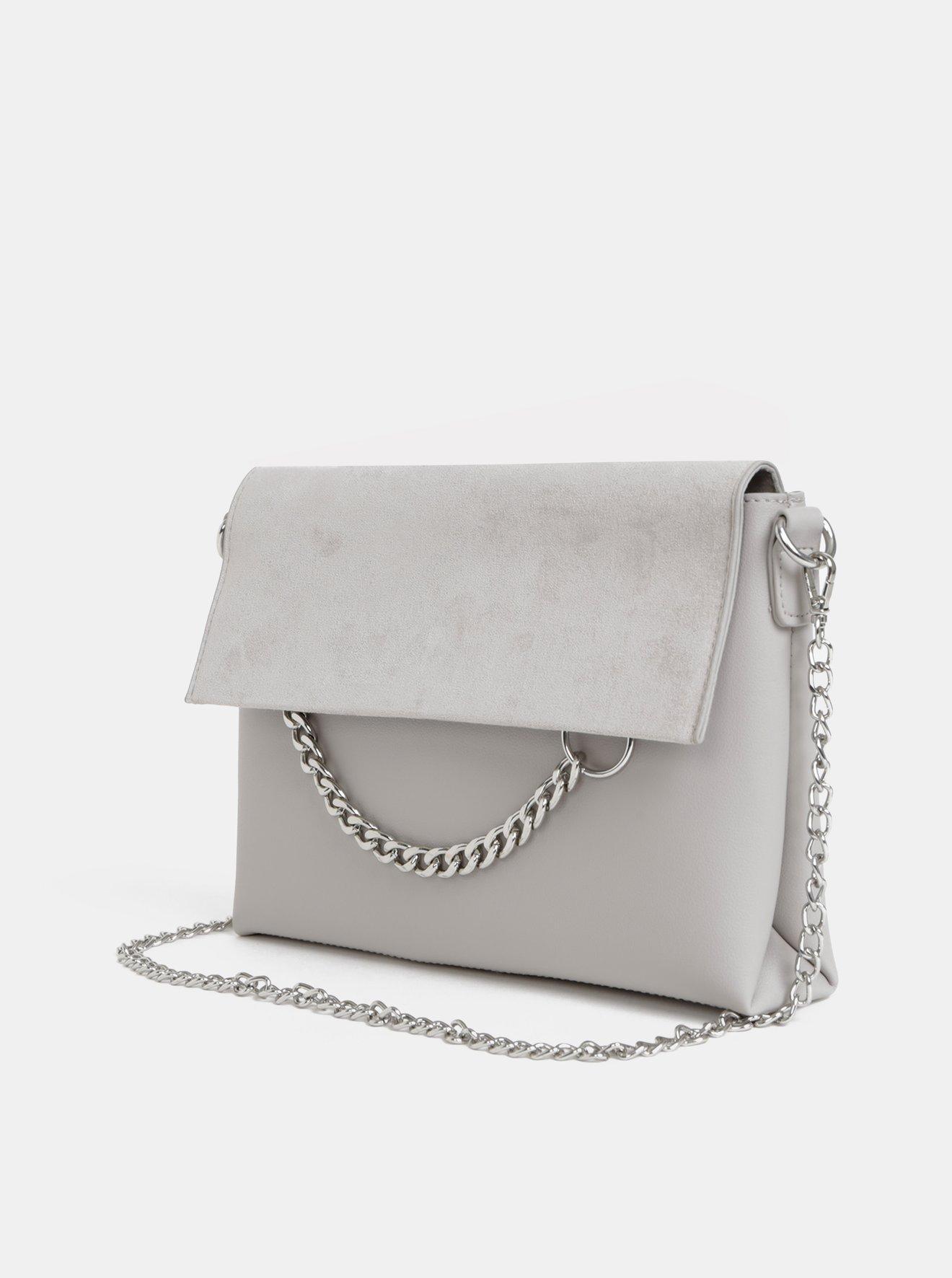 Světle šedá crossbody kabelka s detailem v semišové úpravě Dorothy Perkins