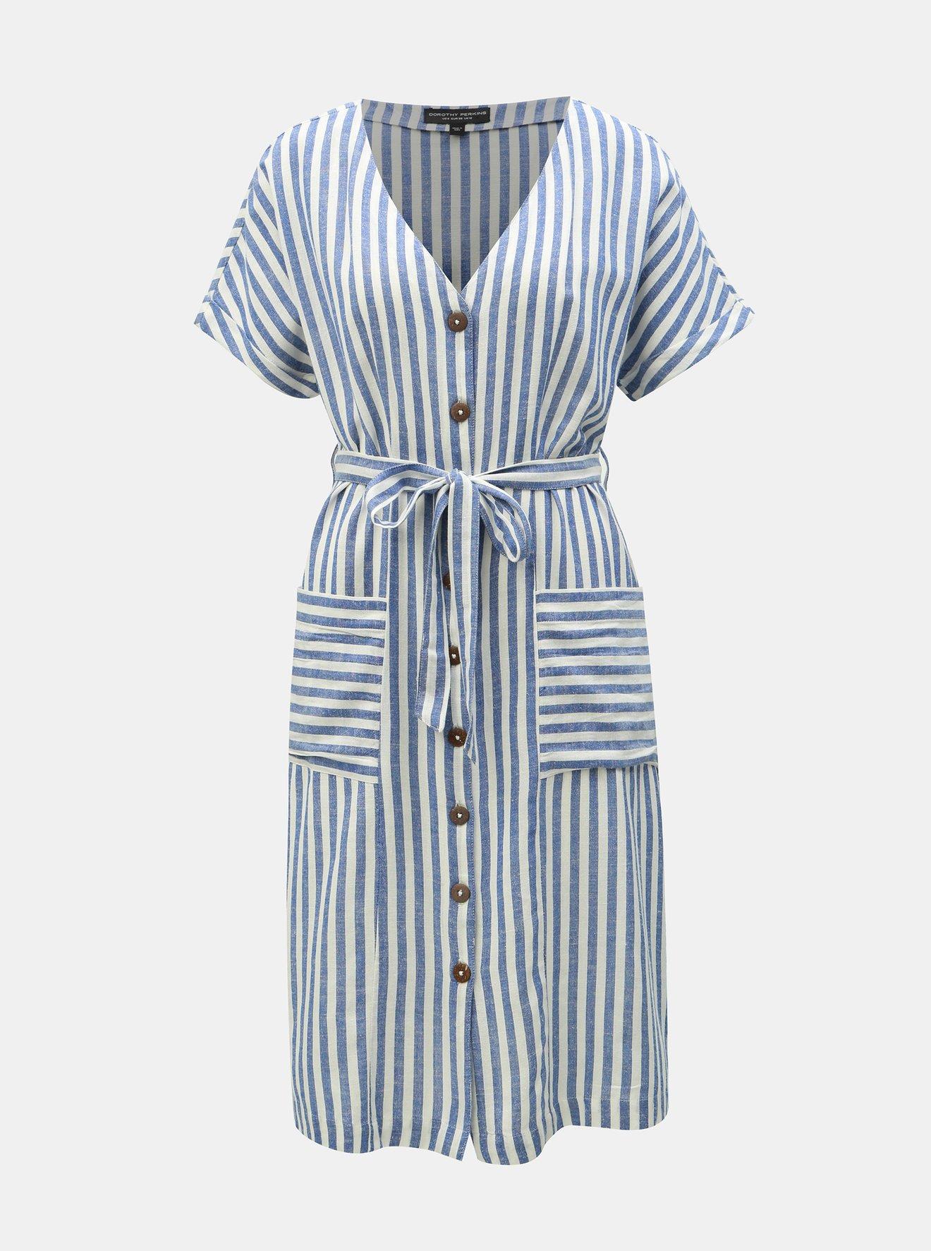 Bílo-modré pruhované šaty s příměsí lnu Dorothy Perkins