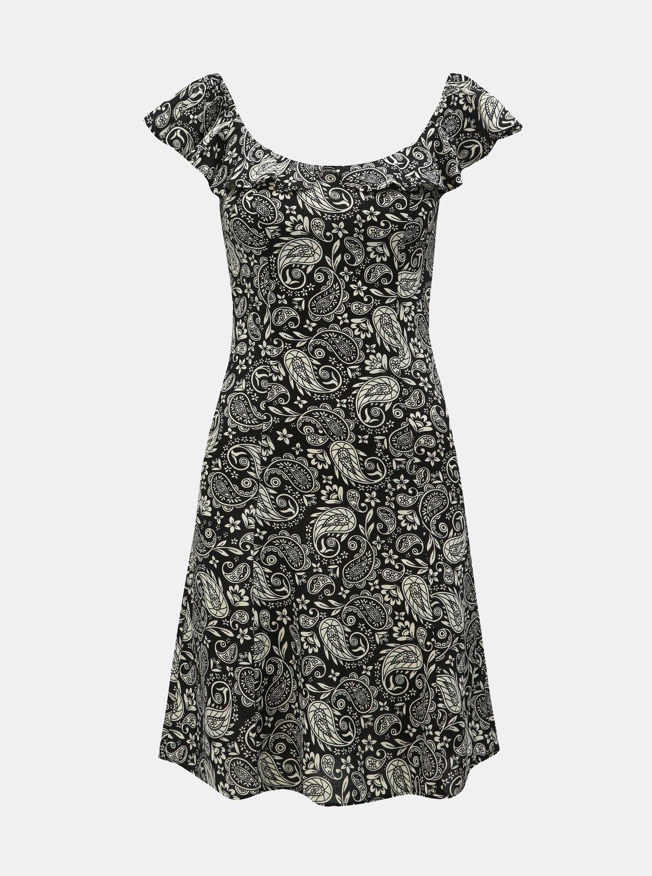 Bílo-černé vzorované šaty s odhalenými rameny Dorothy Perkins