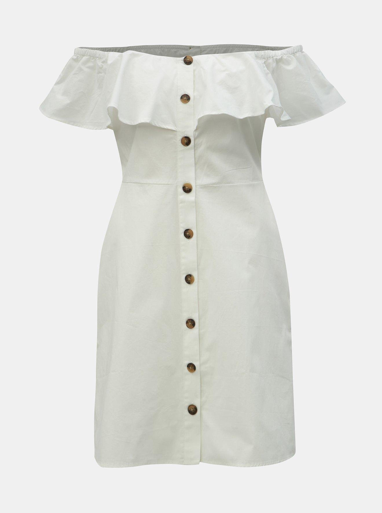 Bílé šaty s odhalenými rameny Dorothy Perkins