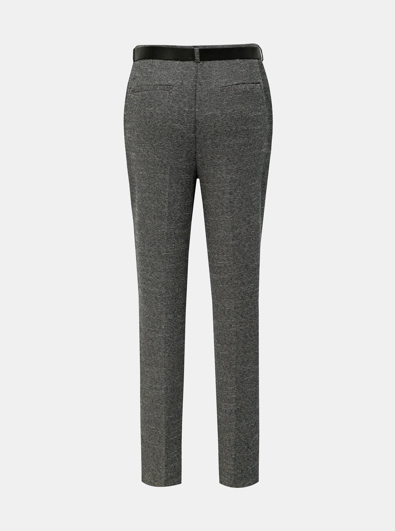 Šedé žíhané kalhoty s páskem Dorothy Perkins Tall