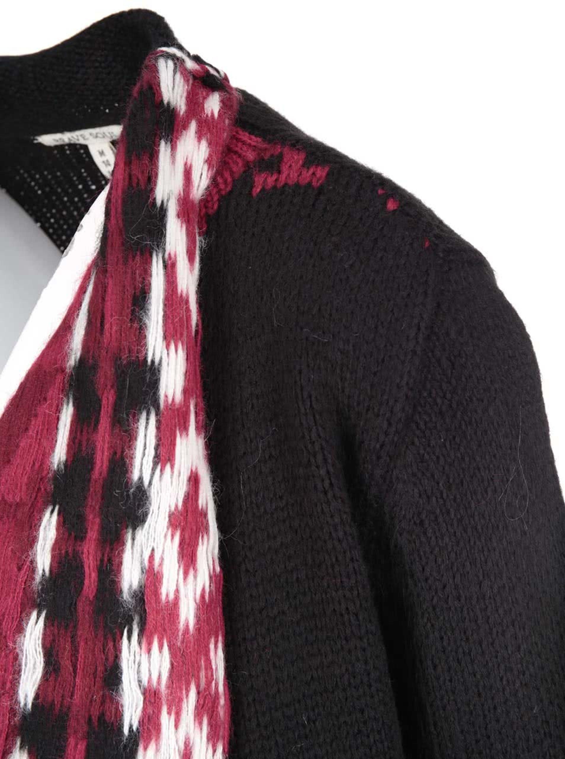 e5ea92bf24e Černý cardigan s krémovo-vínovým vzorem Brave Soul