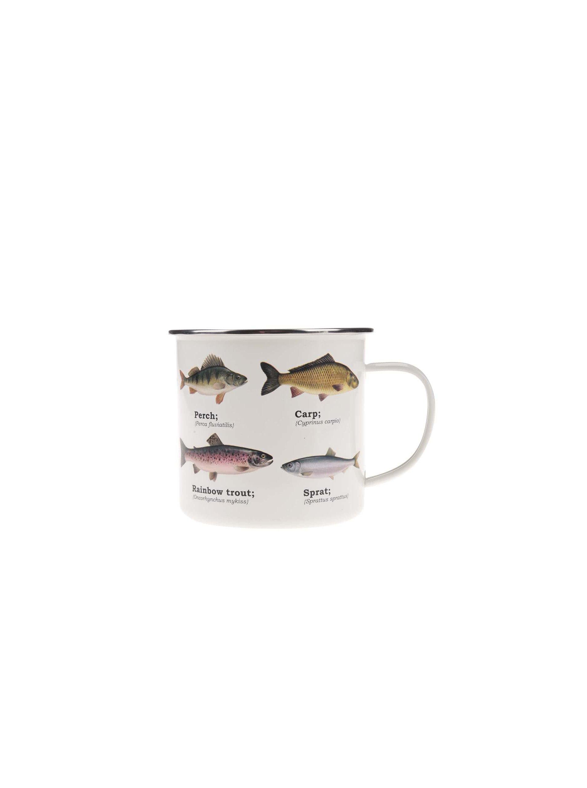 Biely plechový hrnček s potlačou rýb Gift Republic
