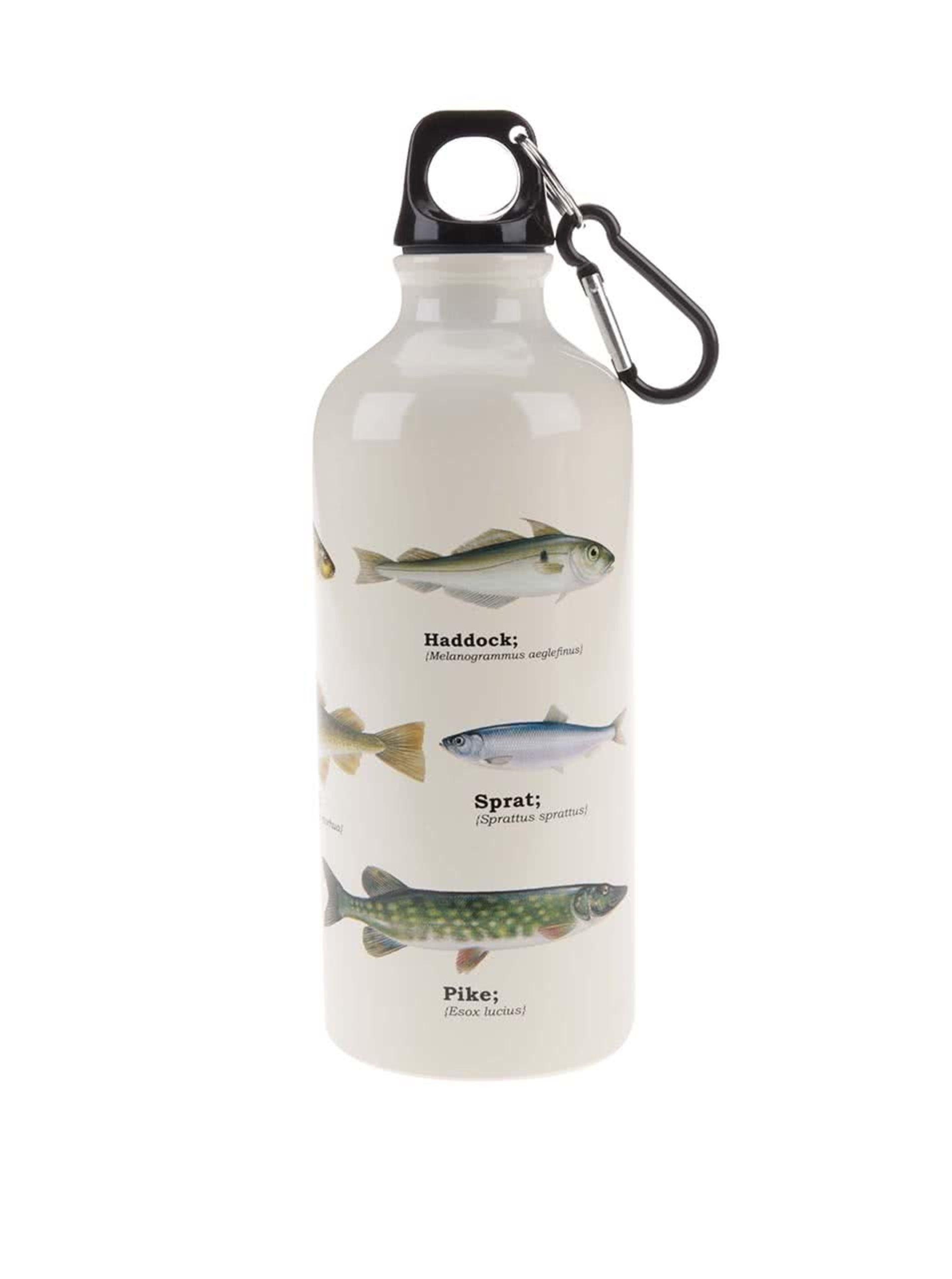 Biela fľaša na vodu s potlačou rýb Gift Republic