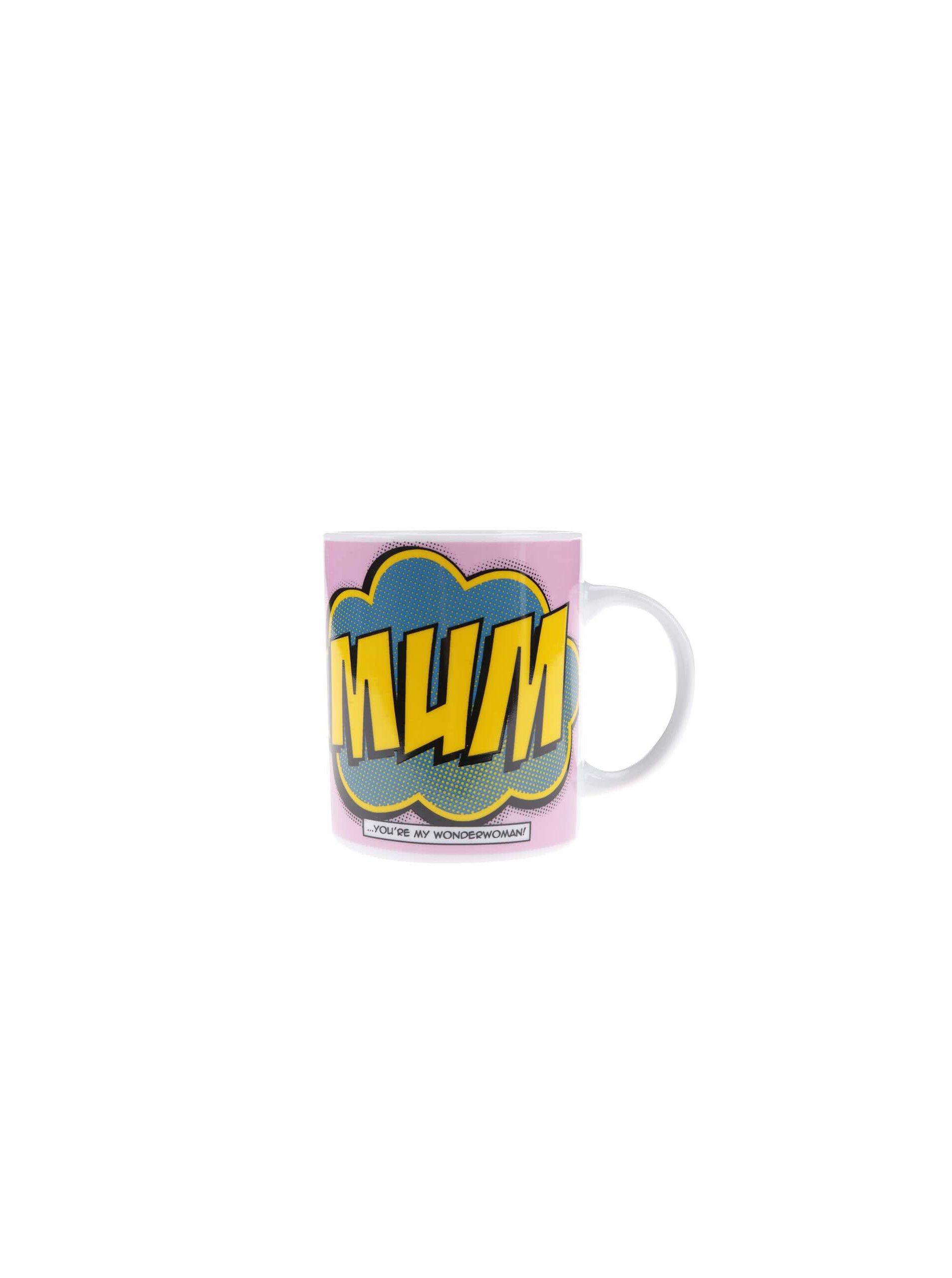 Růžový porcelánový hrnek s potiskem Gift Republic Mum