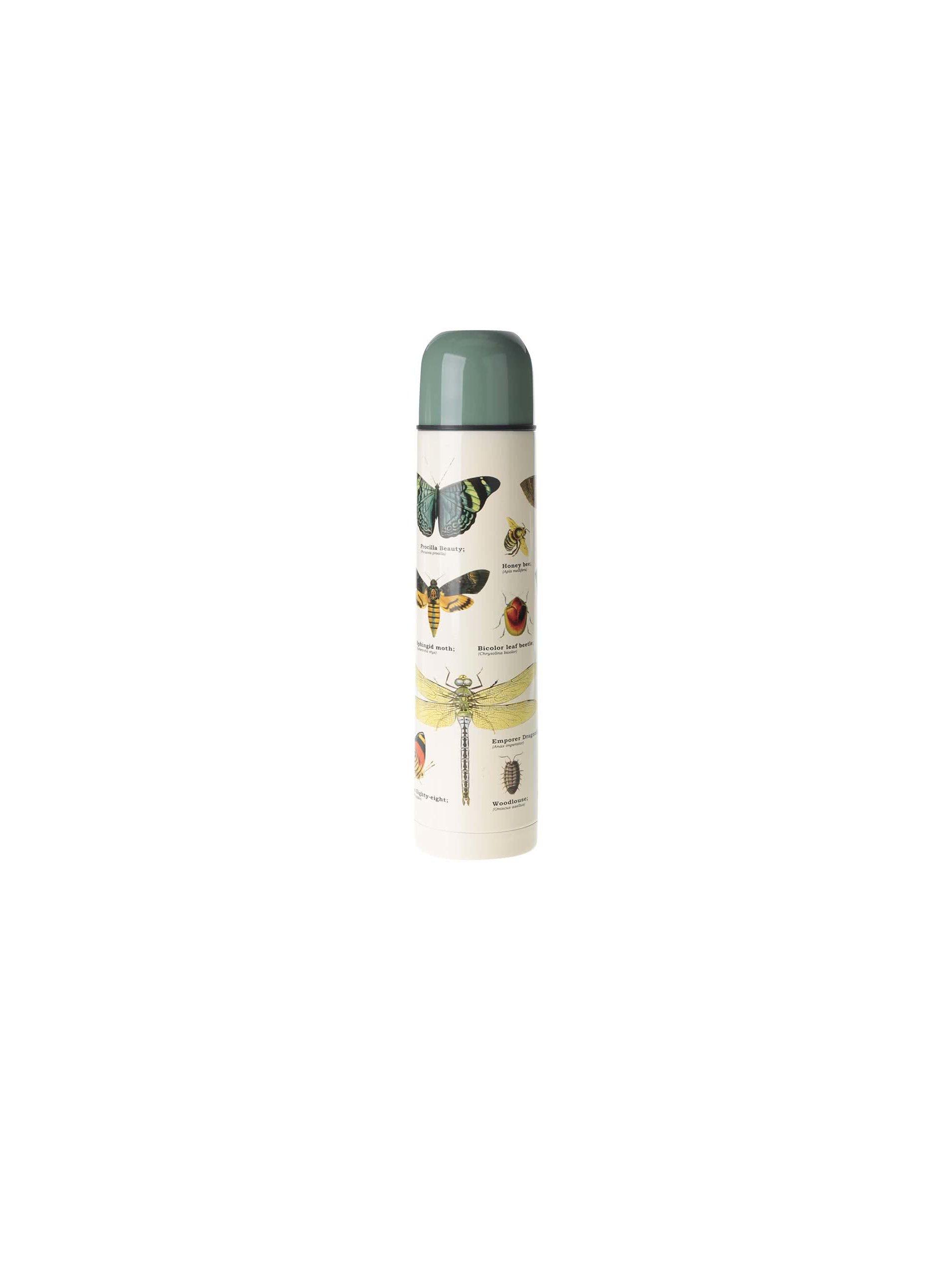 Fotografie Zeleno-béžová termoska s potiskem hmyzu Gift Republic
