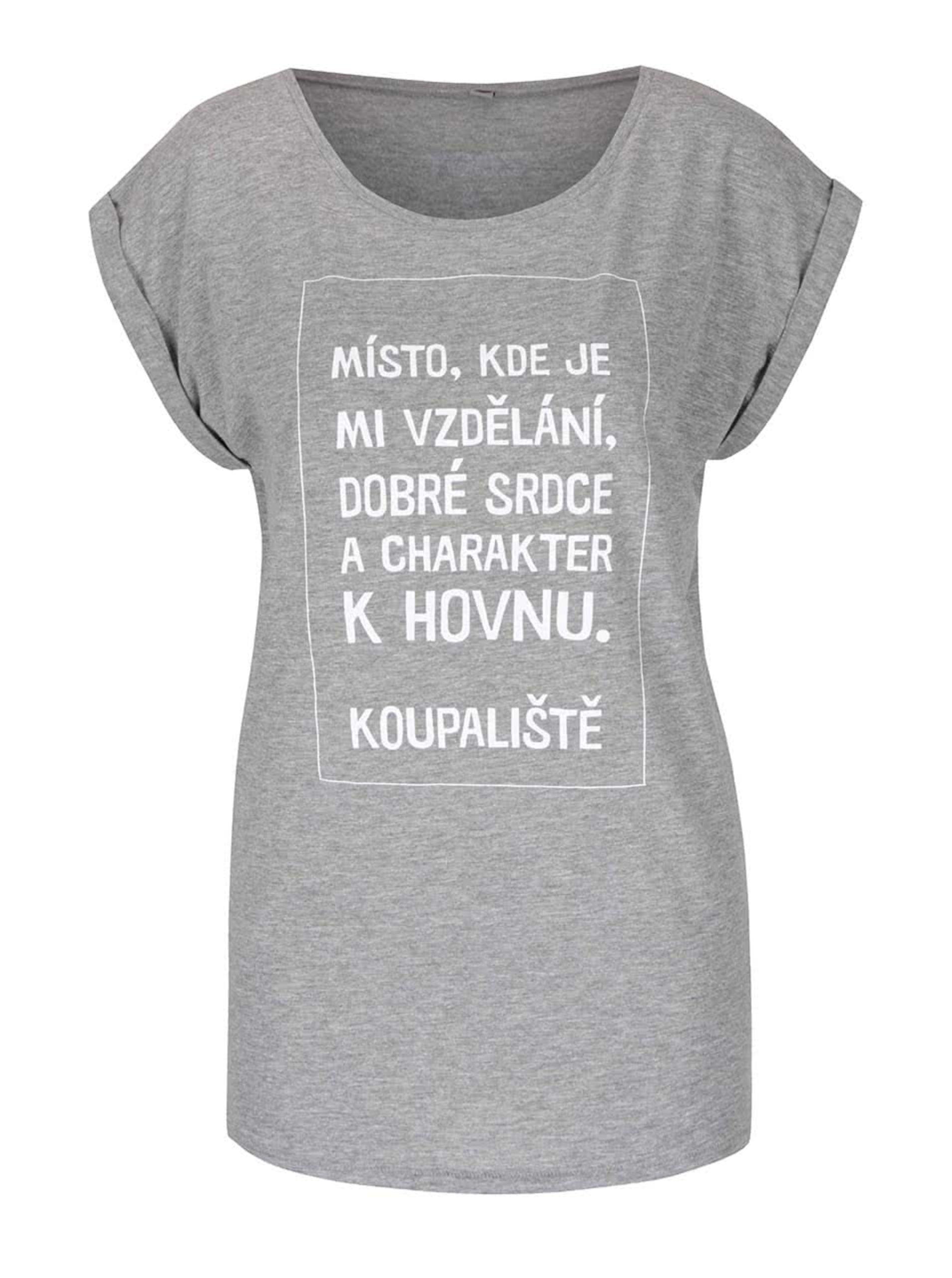 45e7d244158b Šedé dámské tričko s krátkým rukávem Bez Jablka Koupaliště