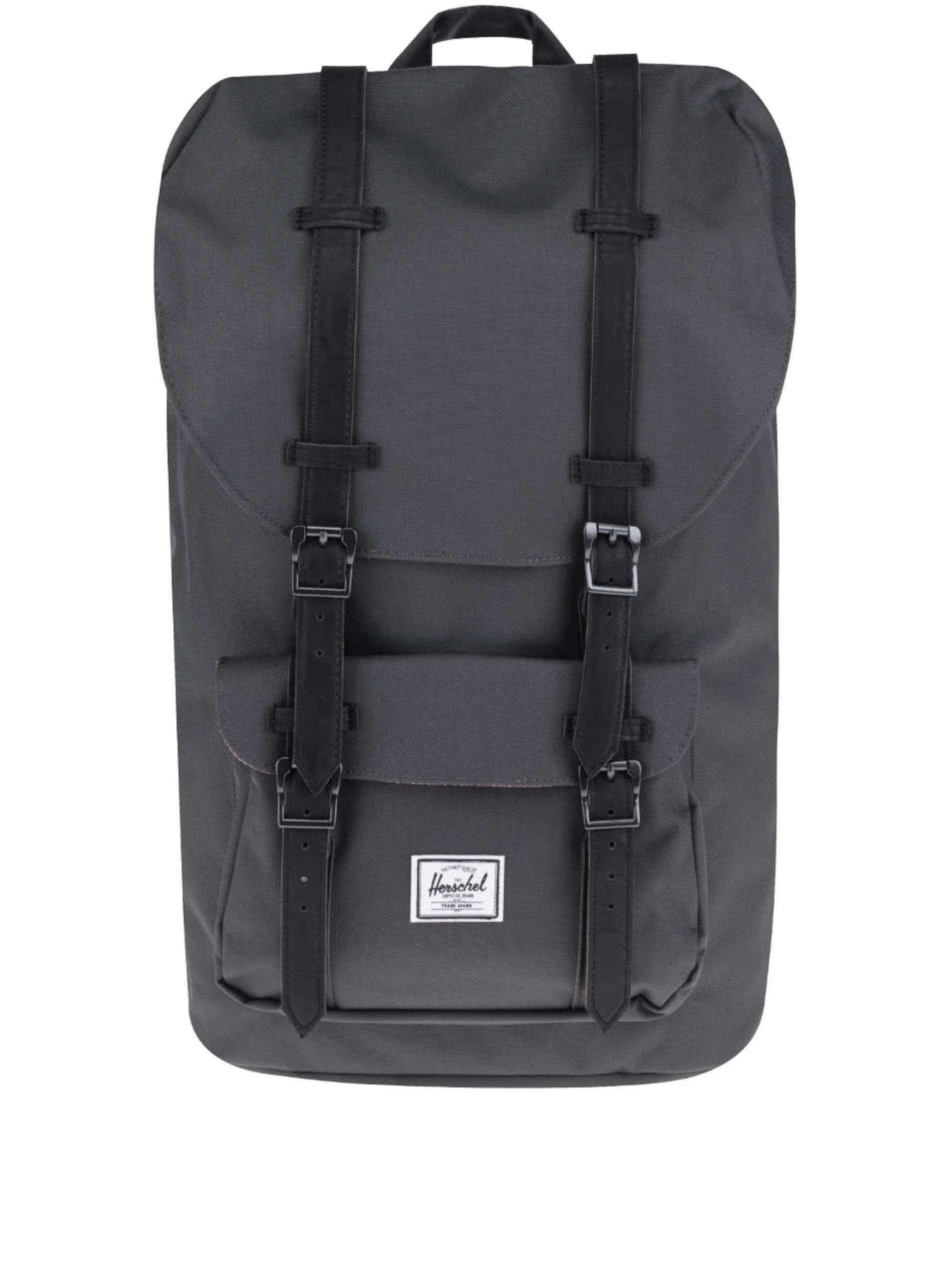 Tmavosivý batoh s čiernymi popruhmi Herschel Supply Little America 25 l