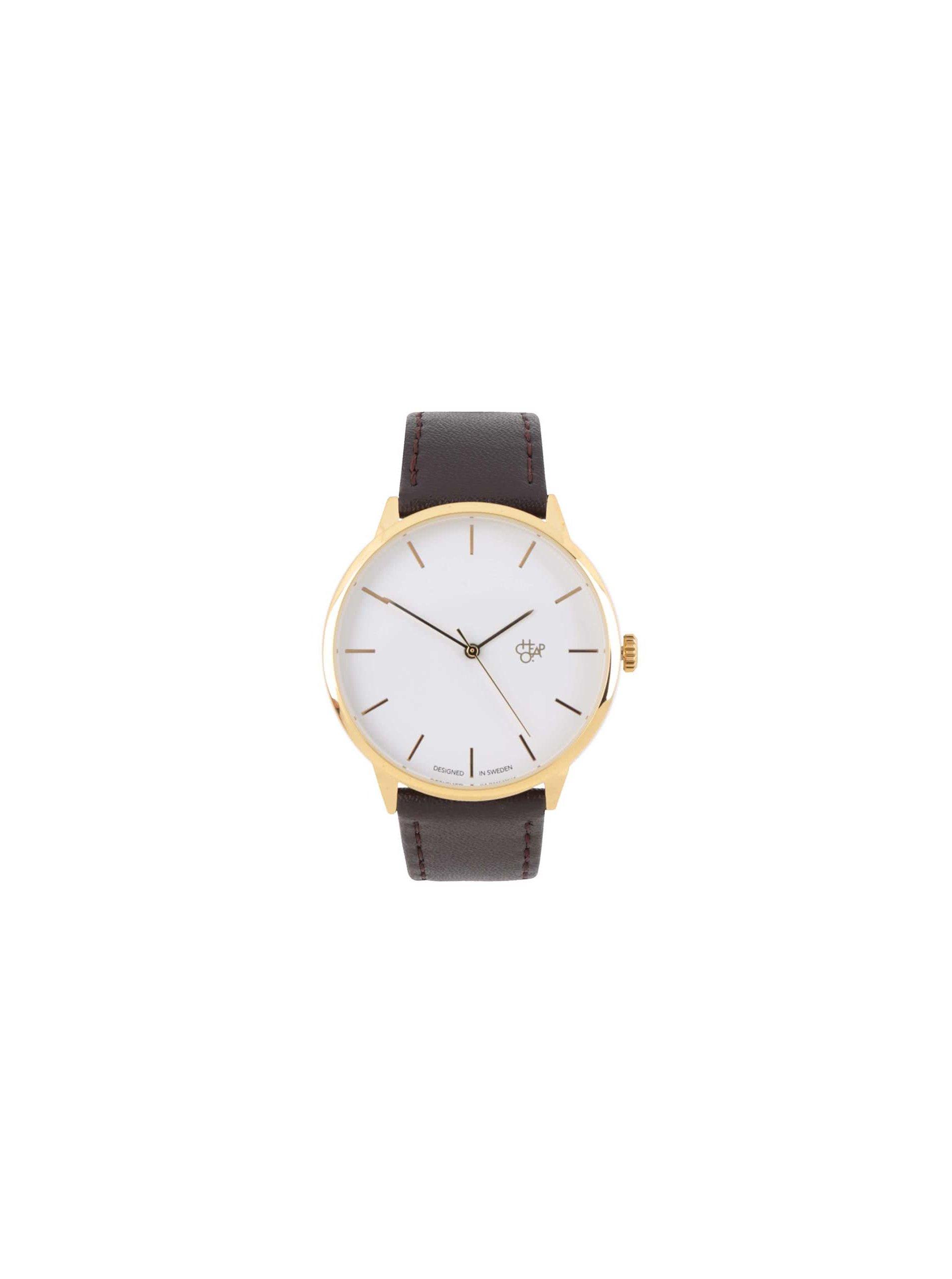 4d1a53d89 Unisex hodinky ve zlaté barvě s tmavě hnědým páskem z veganské kůže CHPO  Khorshid Gold