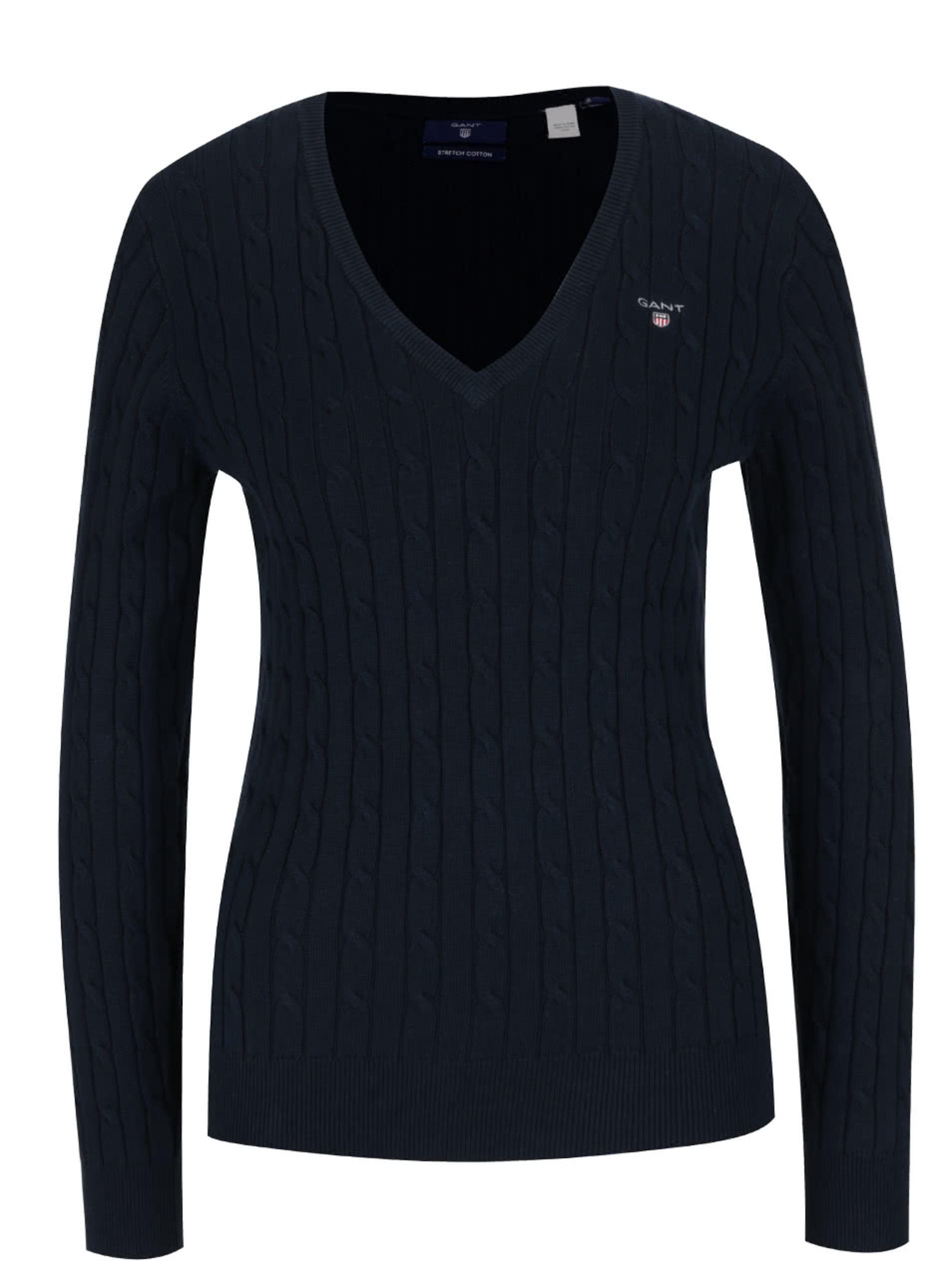 Fotografie Modrý dámský svetr s copánkovým vzorem GANT