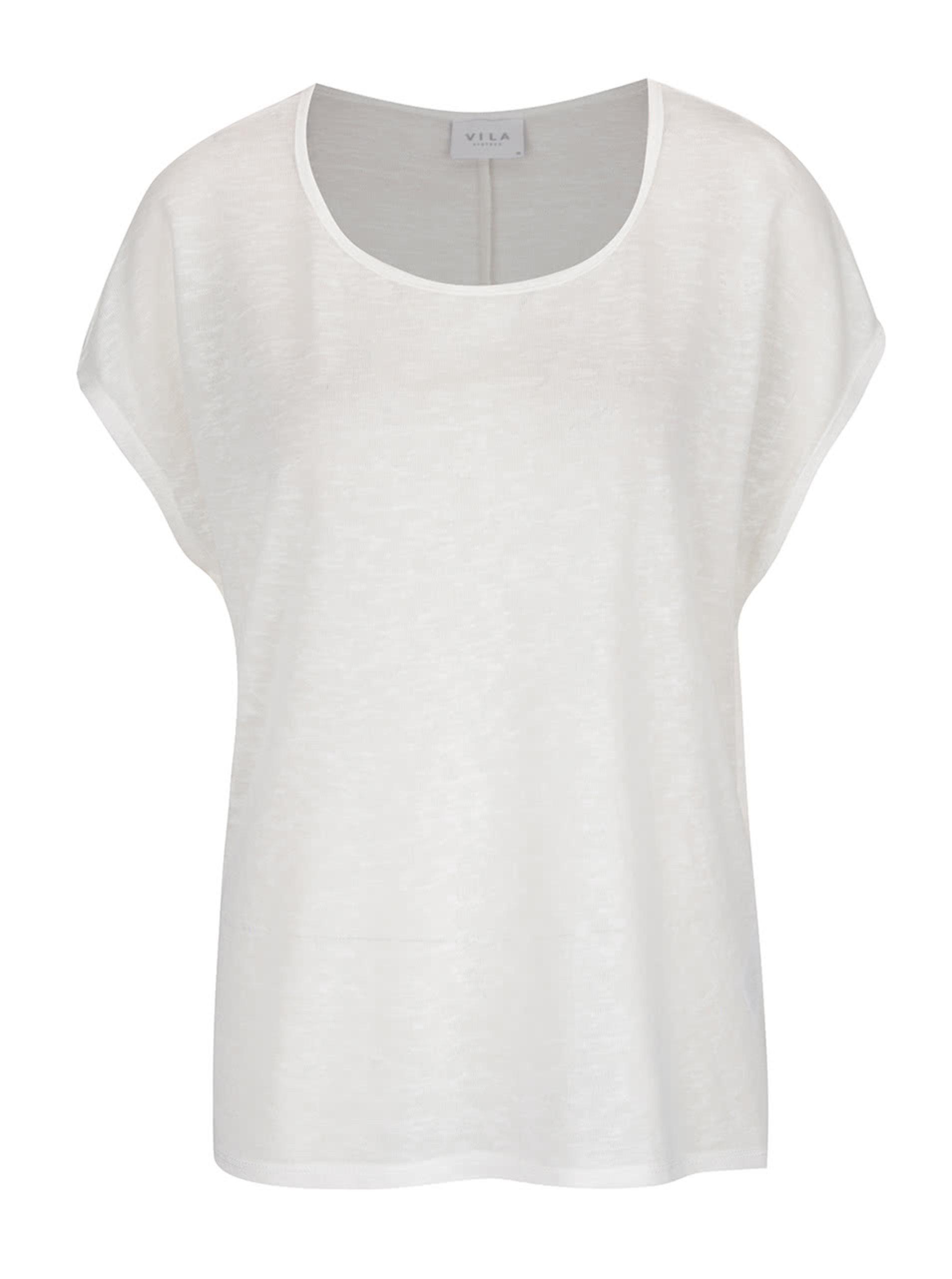 Krémové volné basic tričko VILA Sumi