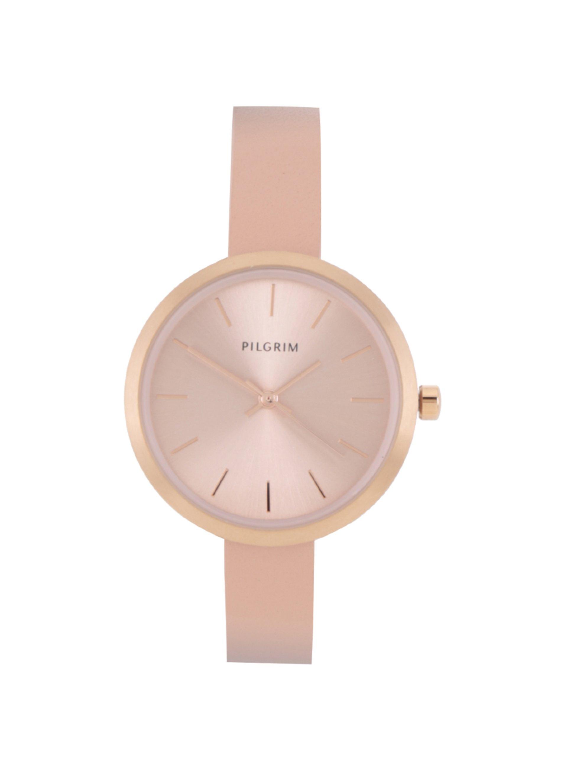 Dámské pozlacené hodinky v růžovozlaté barvě s koženým páskem Pilgrim ... d114133409