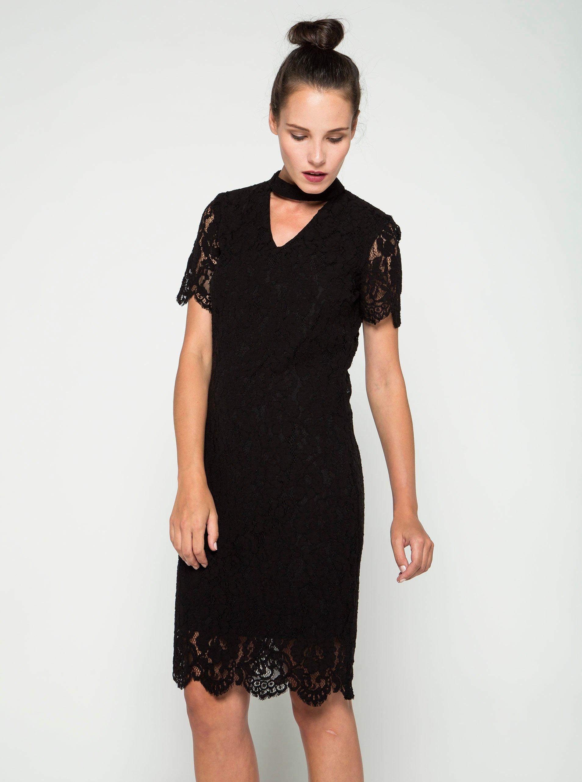 Černé krajkové šaty s průstřihem v dekoltu VERO MODA Elvira