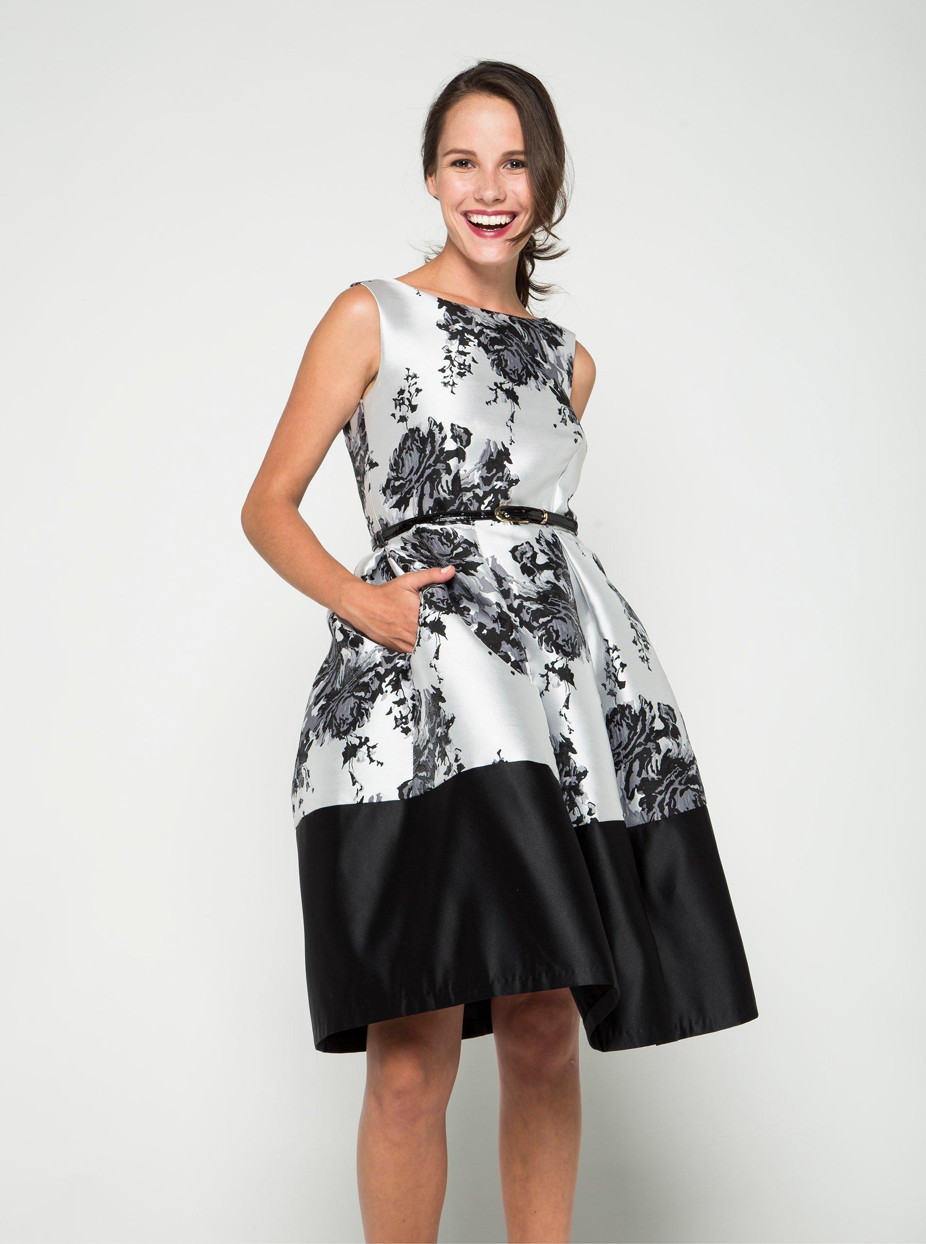 Krémovo-černé květované šaty s páskem Closet
