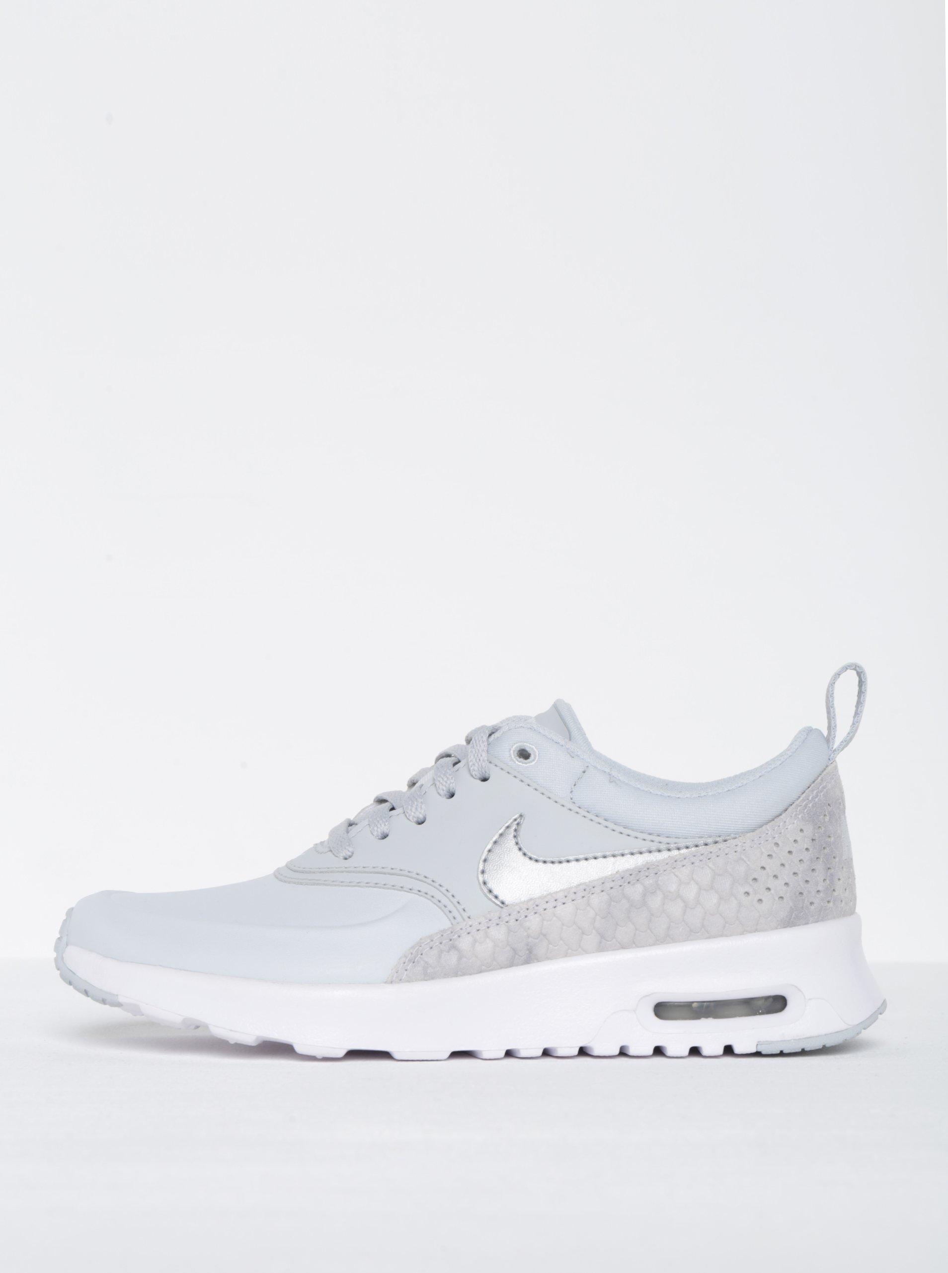 Světle šedé dámské kožené tenisky se strukturovanými detaily Nike Air Max