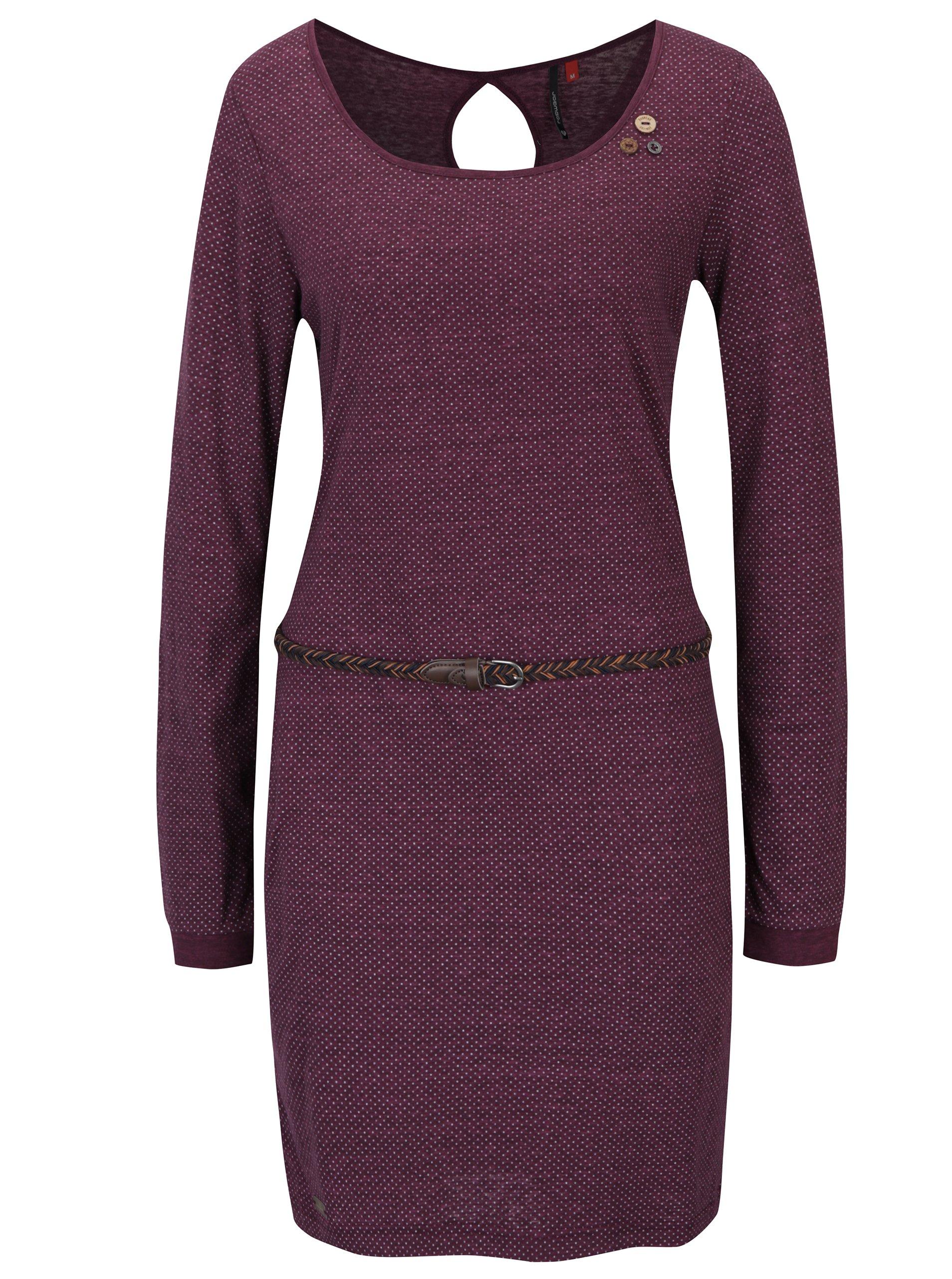 Vínové puntíkované šaty s páskem Ragwear Loco