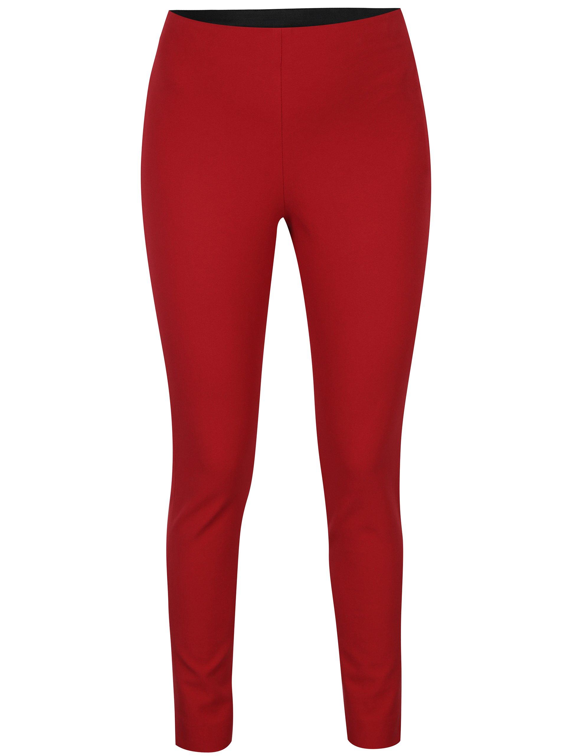 Červené kalhoty se zipem ve zlaté barvě French Connection Street