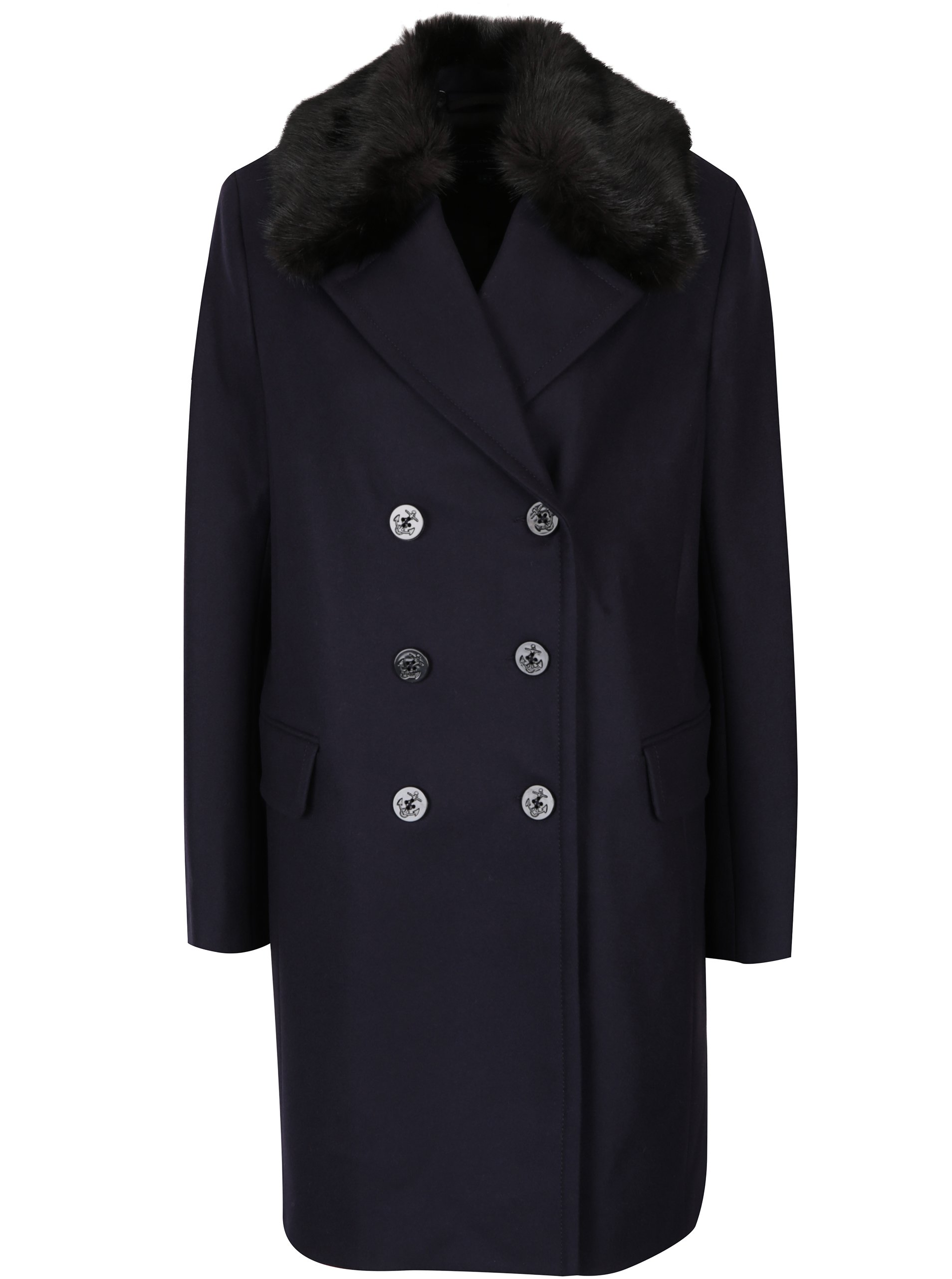 Tmavě modrý vlněný kabát s příměsí kašmíru French Connection Platform