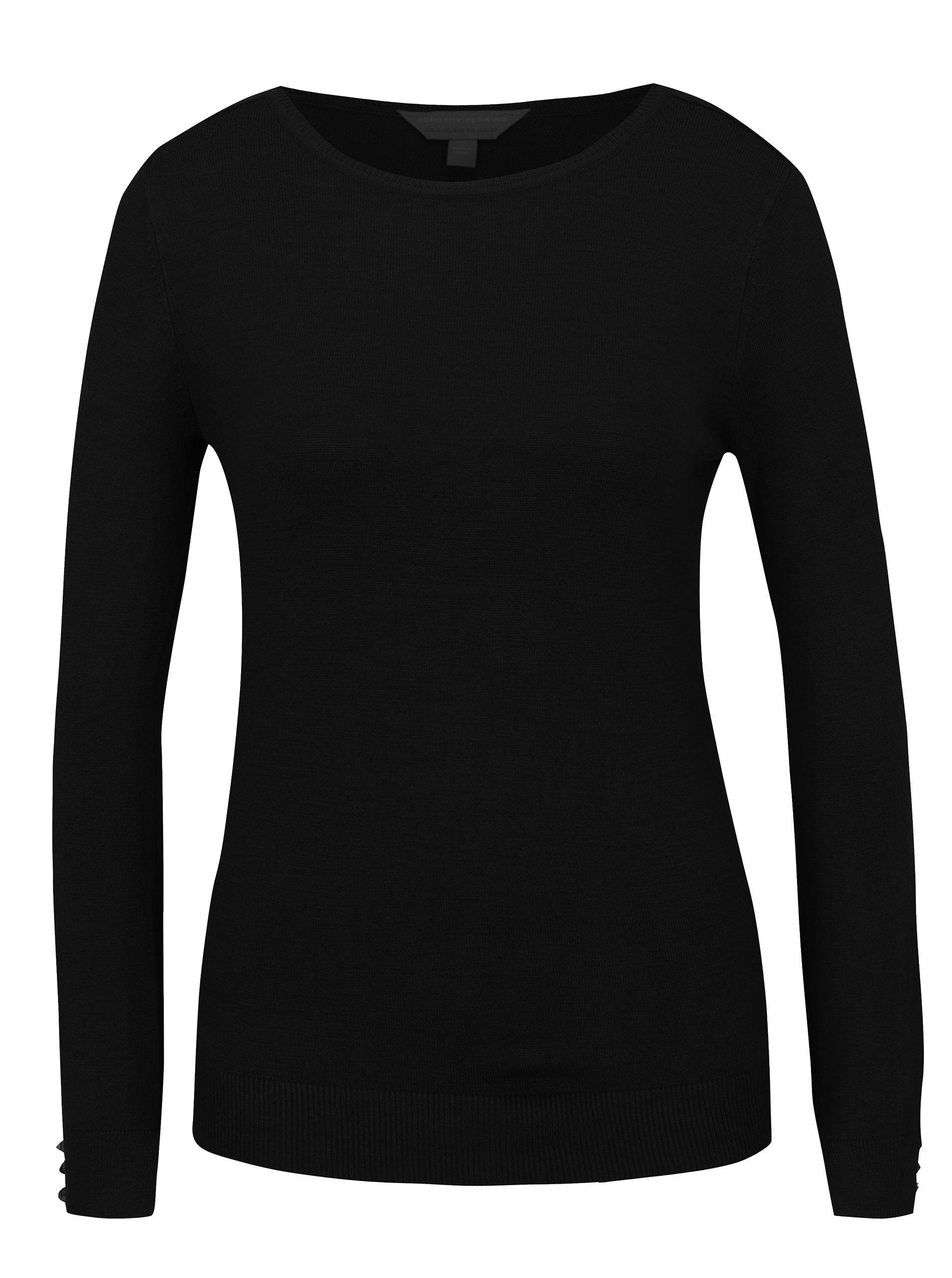 Černý svetr s knoflíky na rukávech Dorothy Perkins
