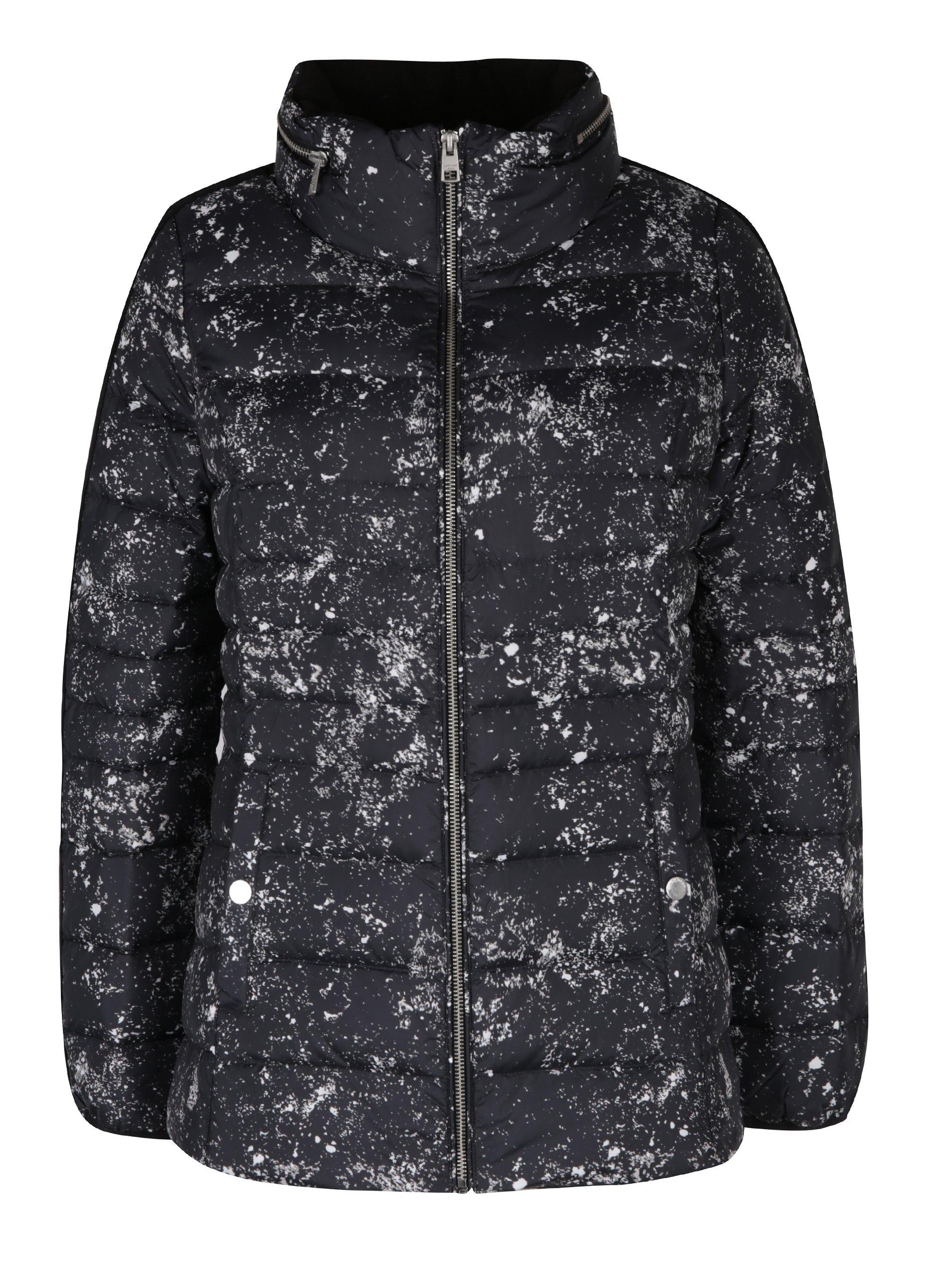 Čierna melírovaná dámska prešívaná bunda Calvin Klein Jeans Obara