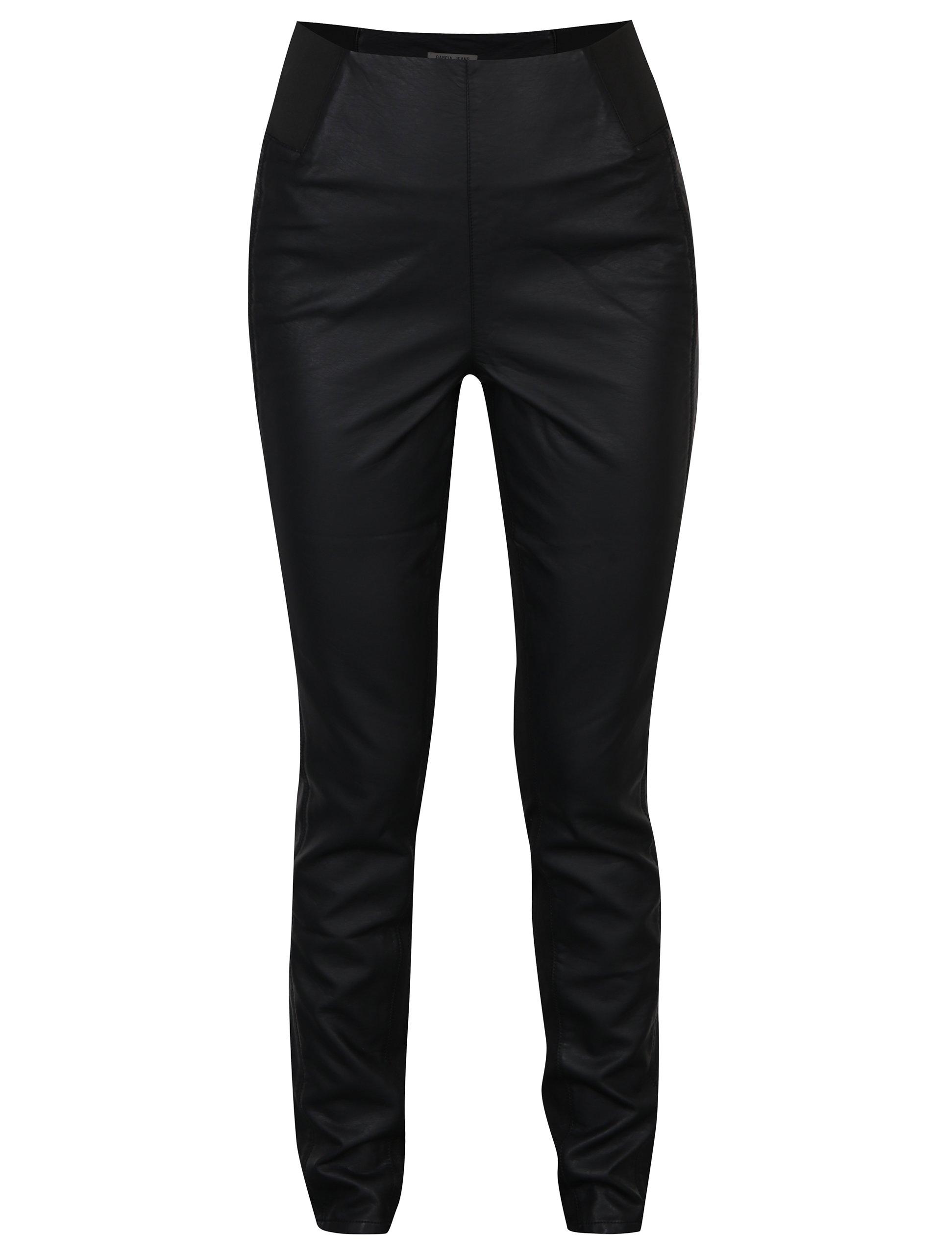 Čierne dámske priliehavé koženkové nohavice s vysokým pásom Garcia Jeans