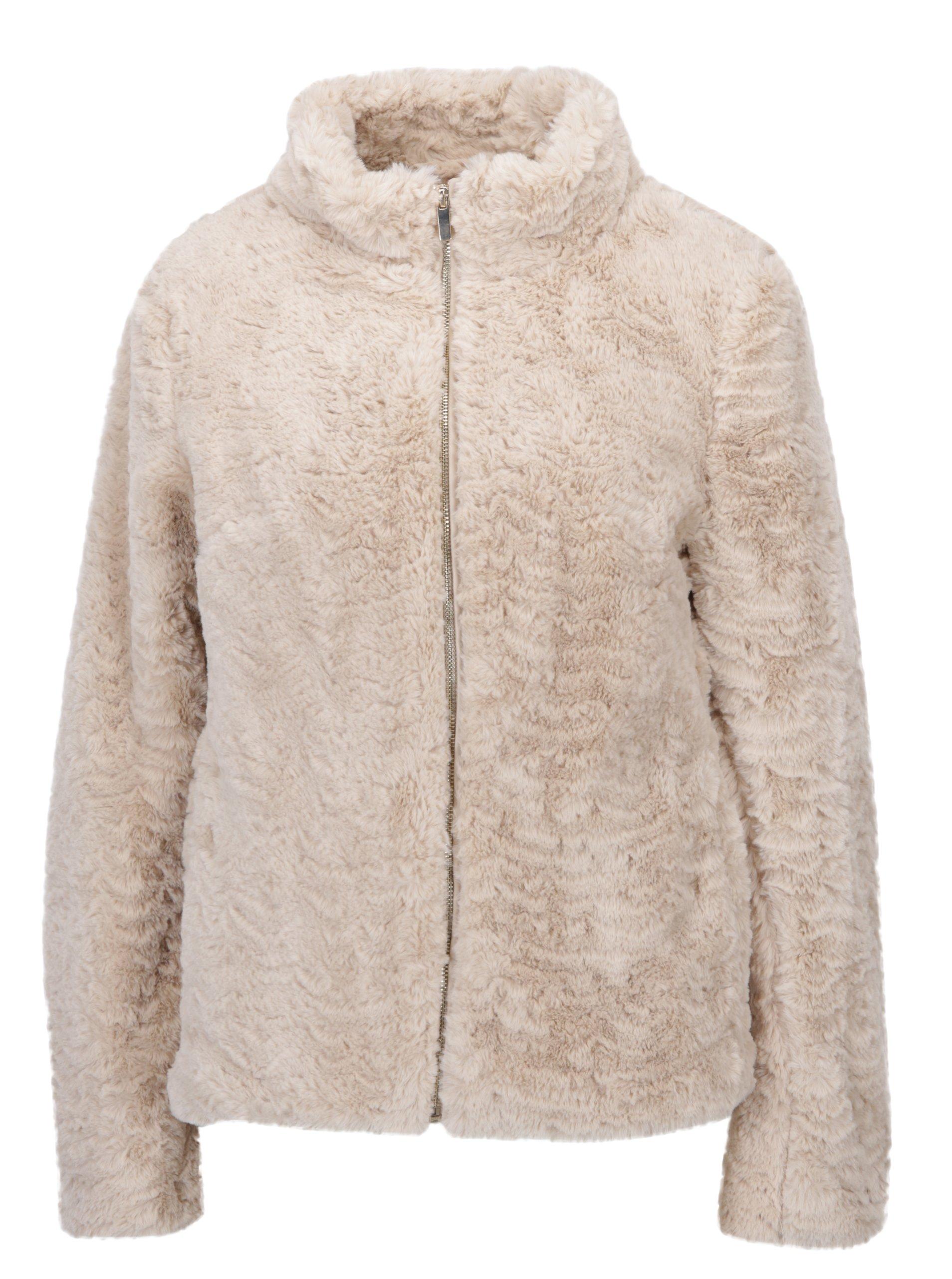 Béžová bunda z umělé kožešiny Dorothy Perkins