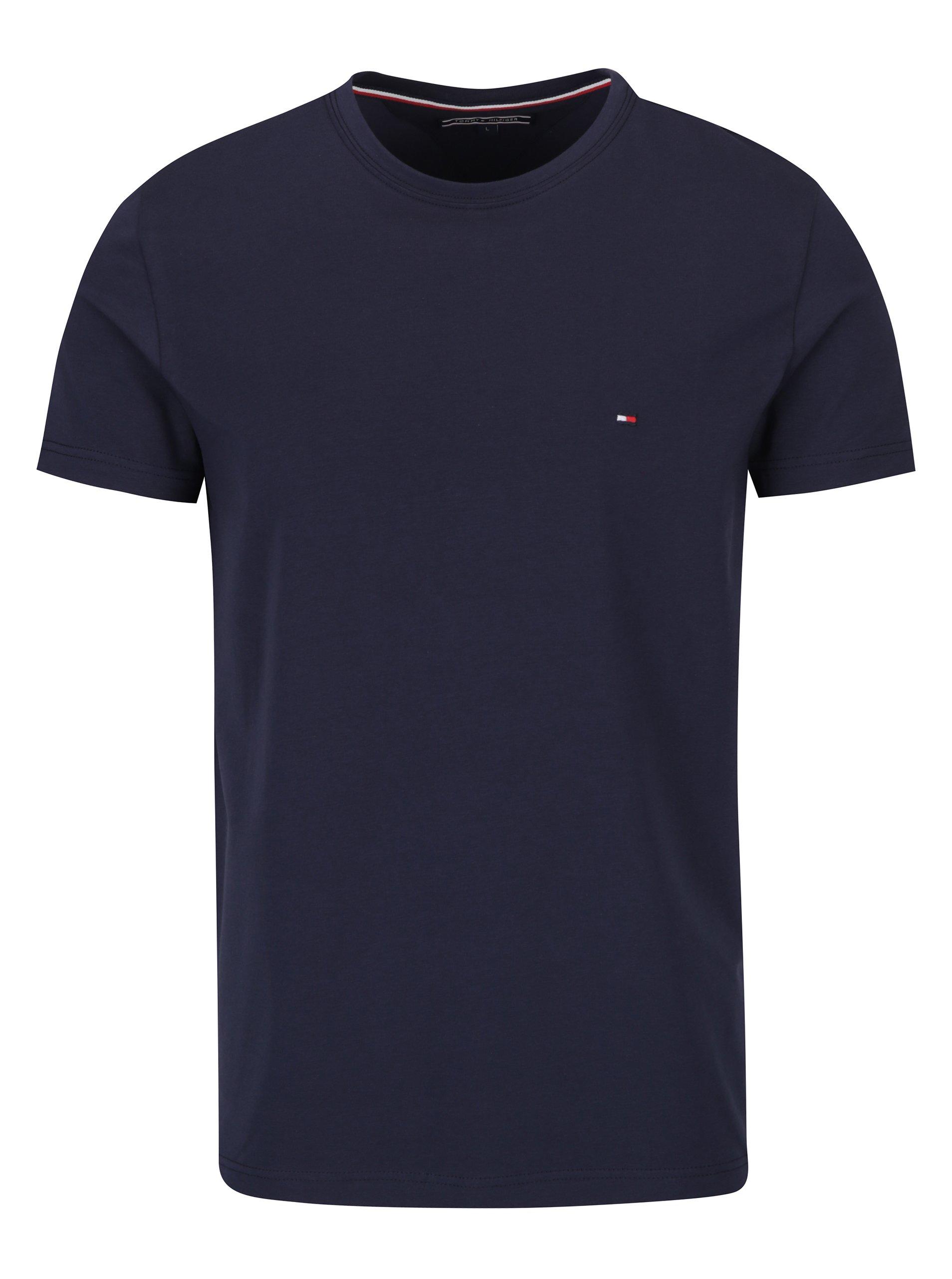 Tmavě modré pánské basic triko s krátkým rukávem Tommy Hilfiger New Stretch