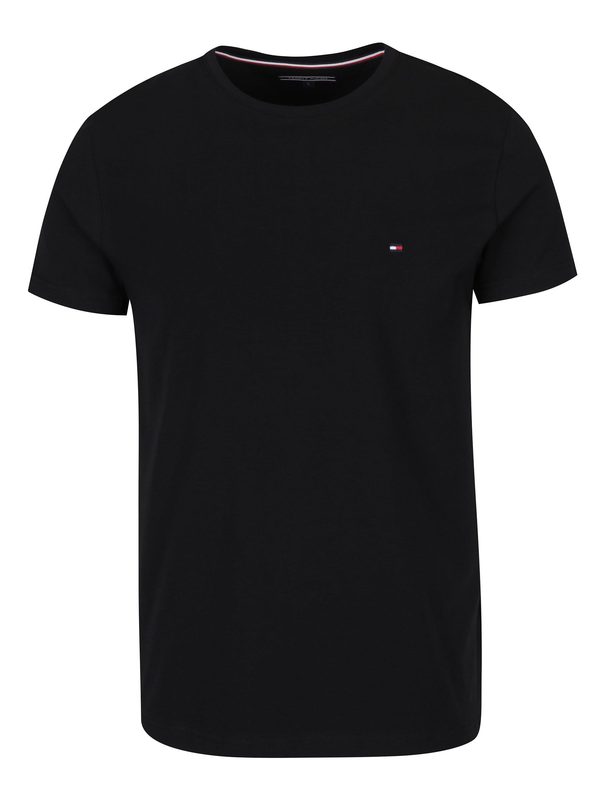Černé pánské basic triko s krátkým rukávem Tommy Hilfiger New Stretch