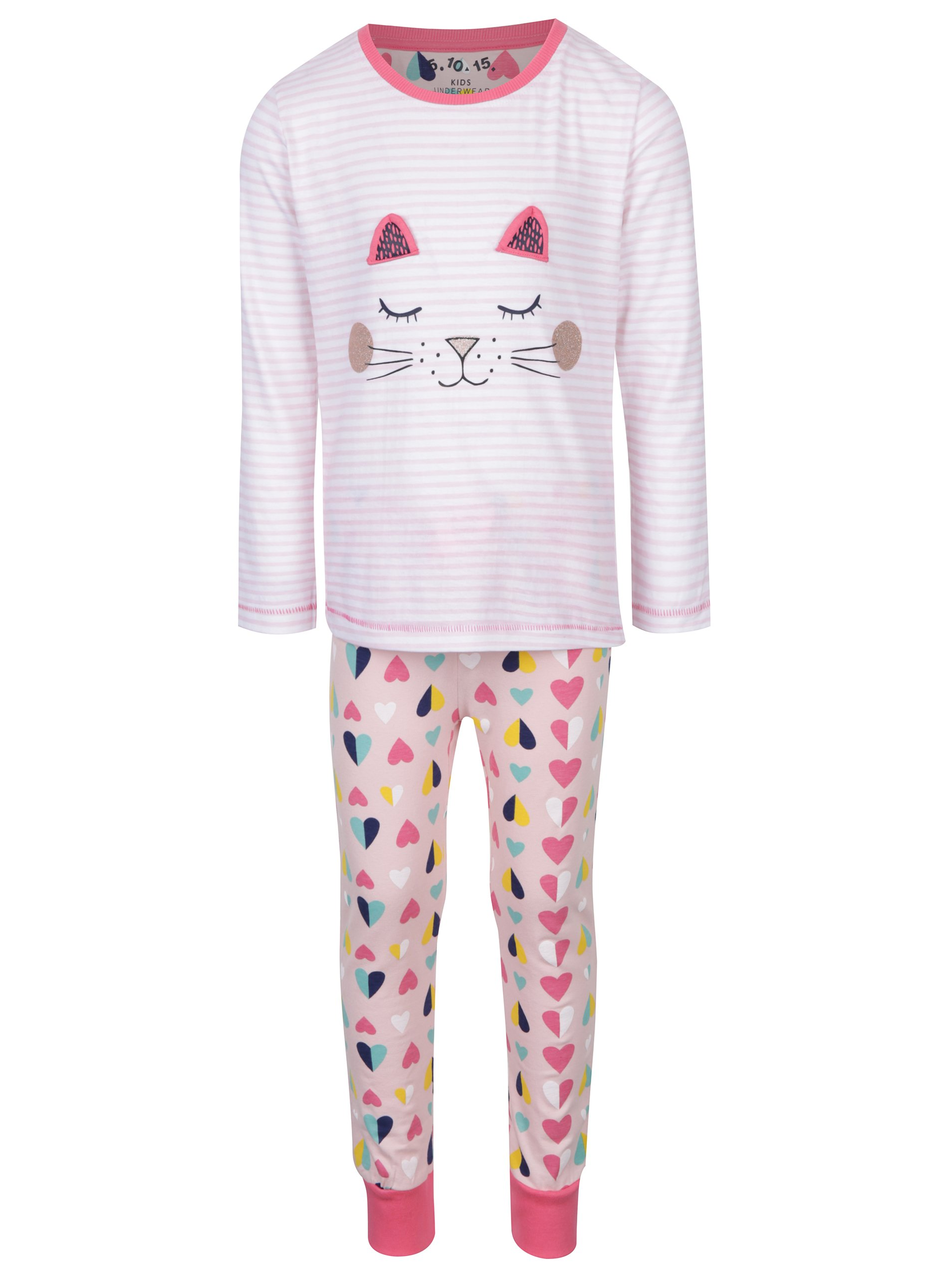 Růžové holčičí pyžamo s motivem kočky 5.10.15.