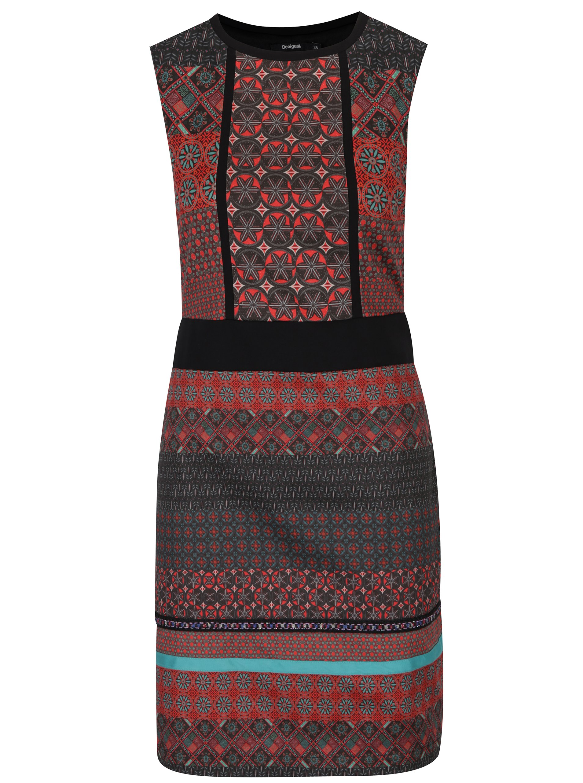 Červeno-černé vzorované pouzdrové šaty Desigual Birmania