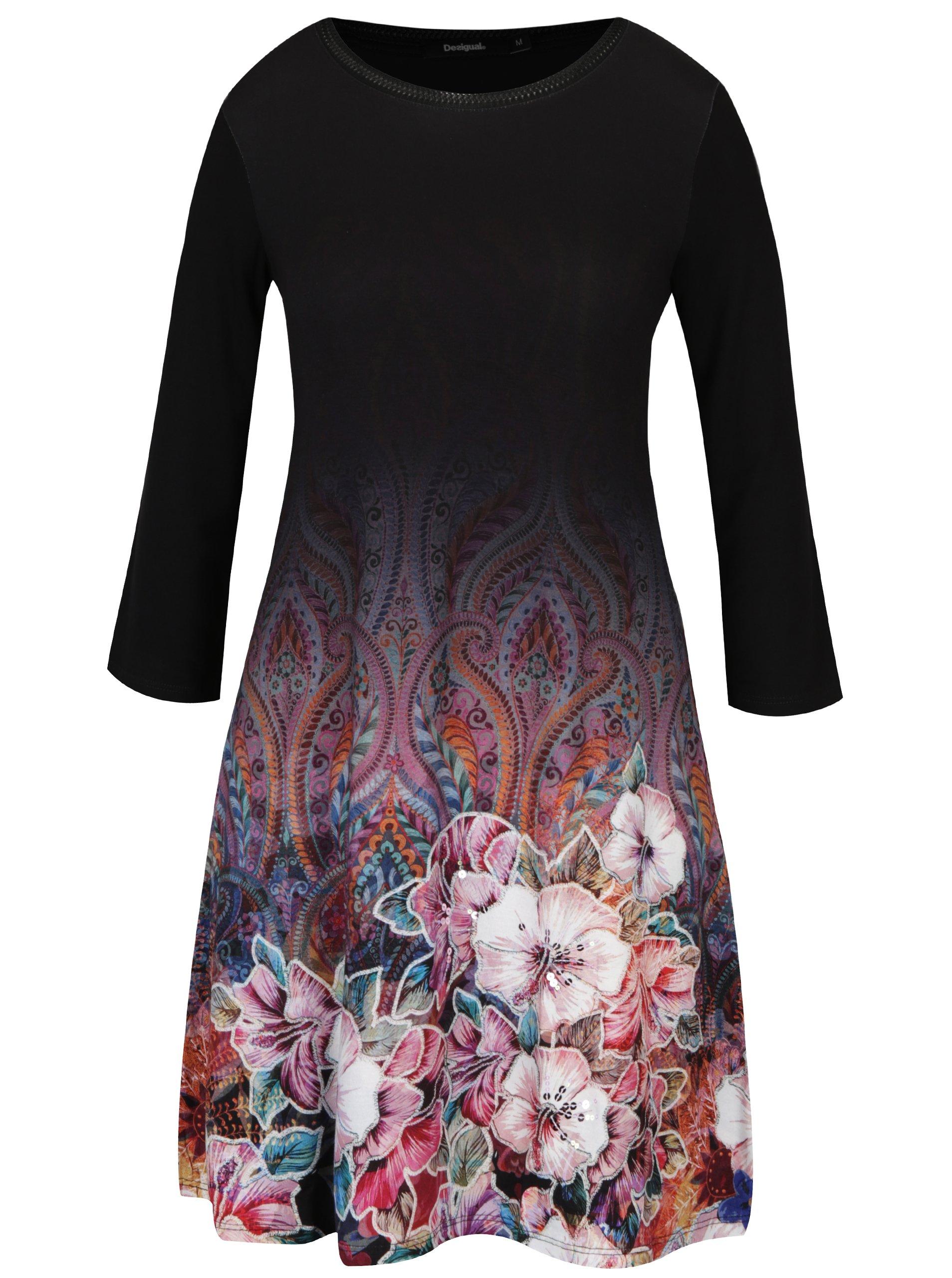 Černé volné květované šaty s 3/4 rukávem Desigual Freya