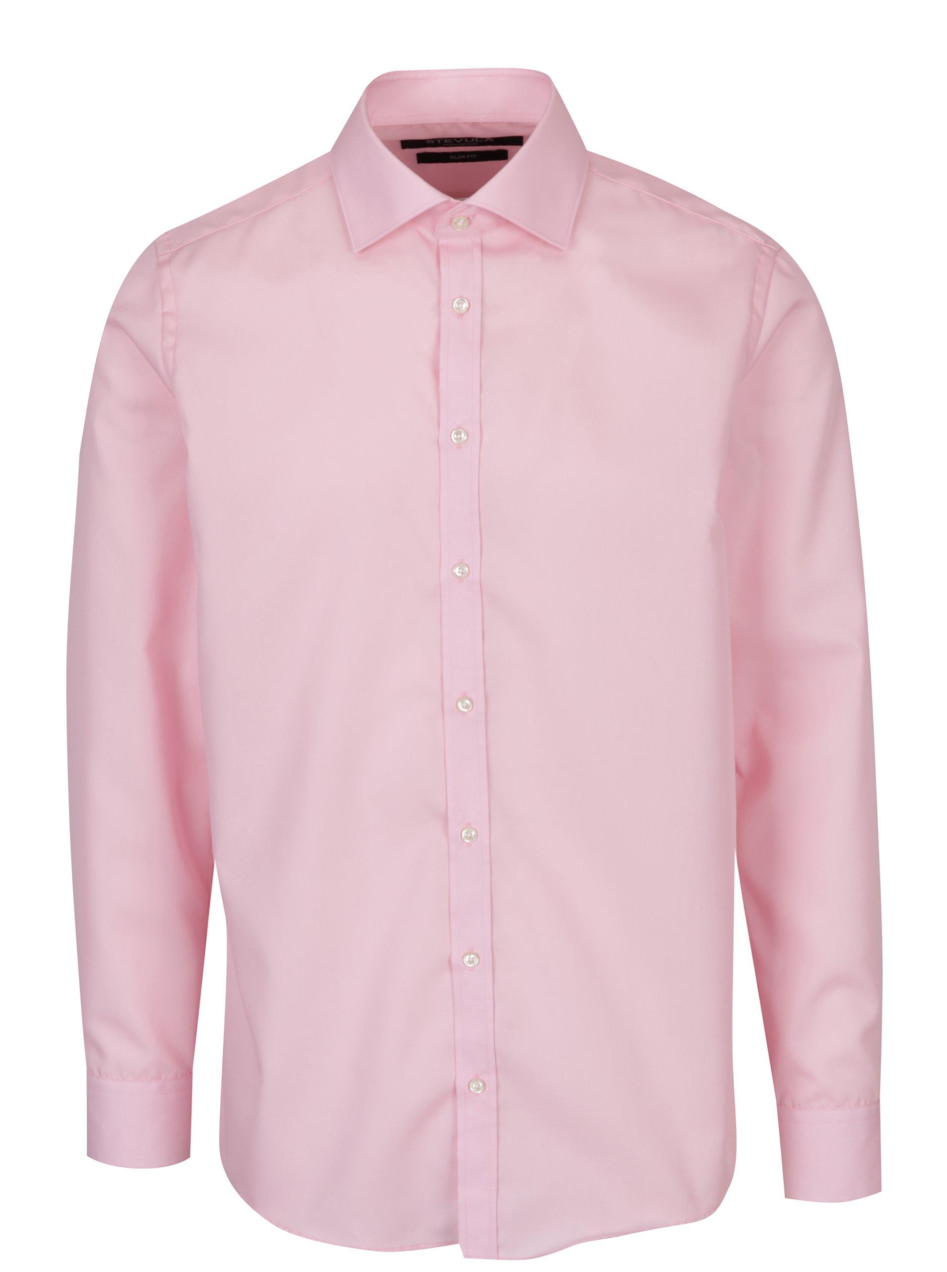 Světle růžová pánská formální slim fit košile STEVULA