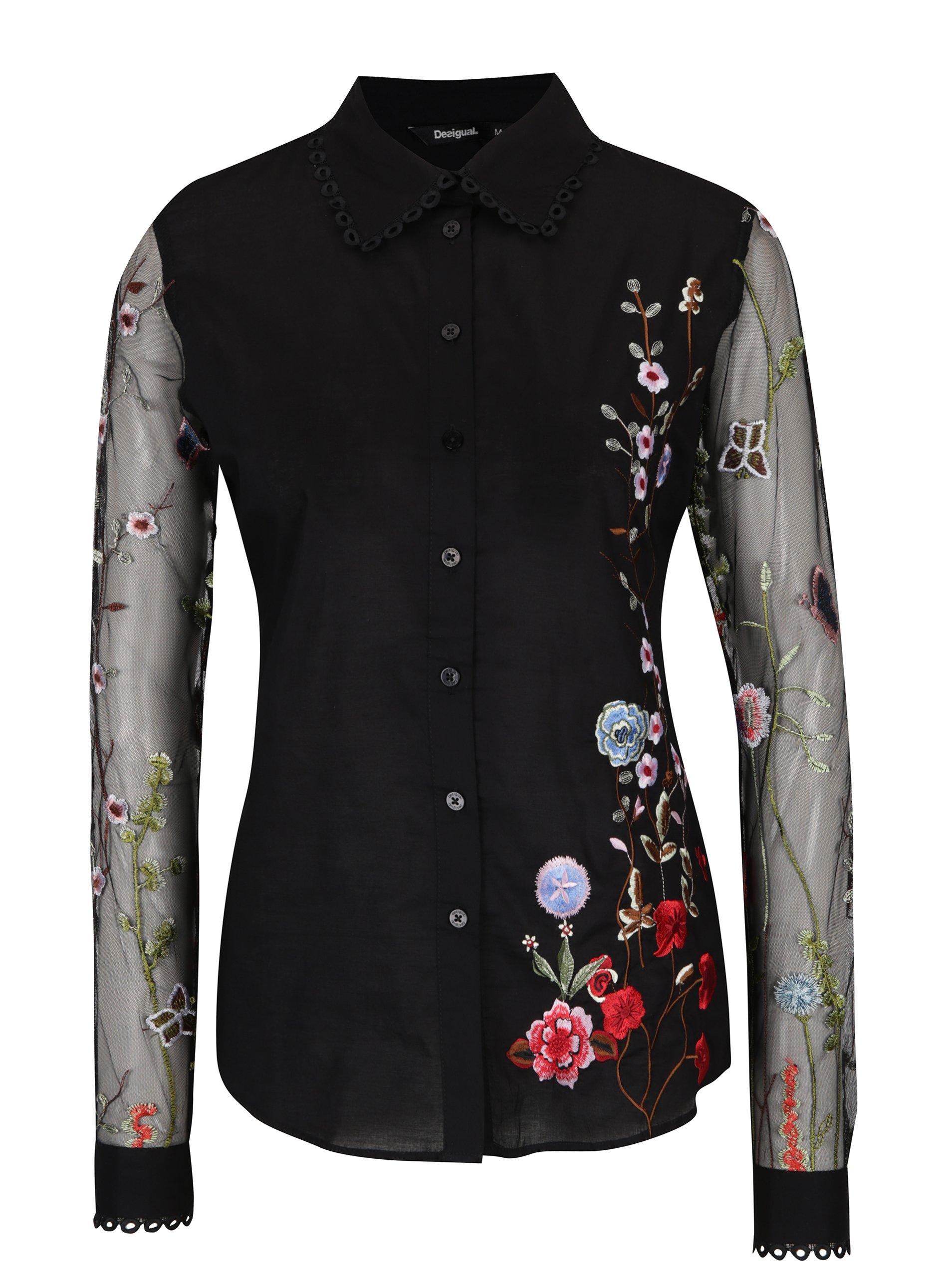 Černá košile s průsvitnými rukávy a výšivkami Desigual Florinda