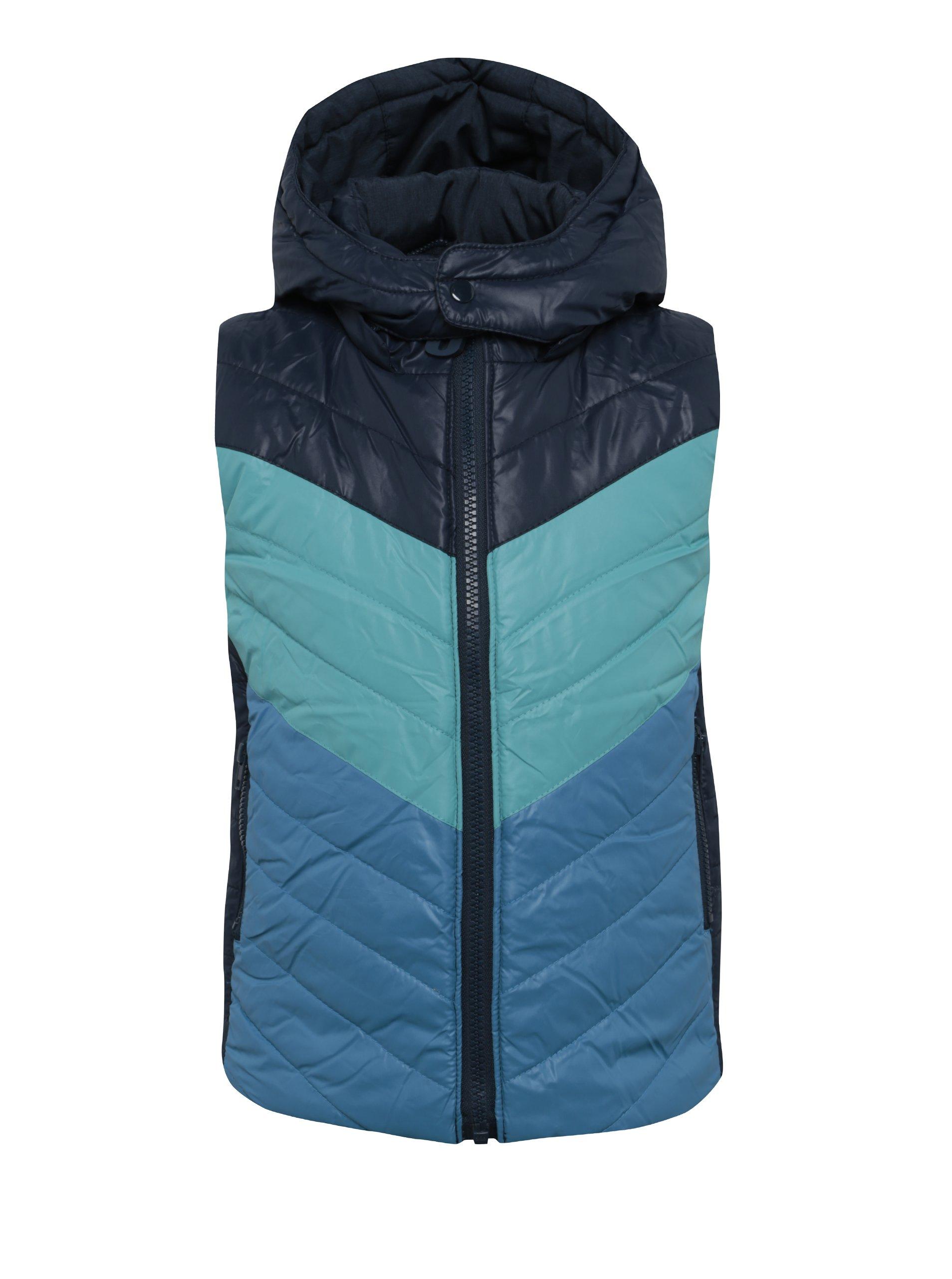 Tmavě modrá klučičí oboustranná prošívaná vesta s kapucí BÓBOLI