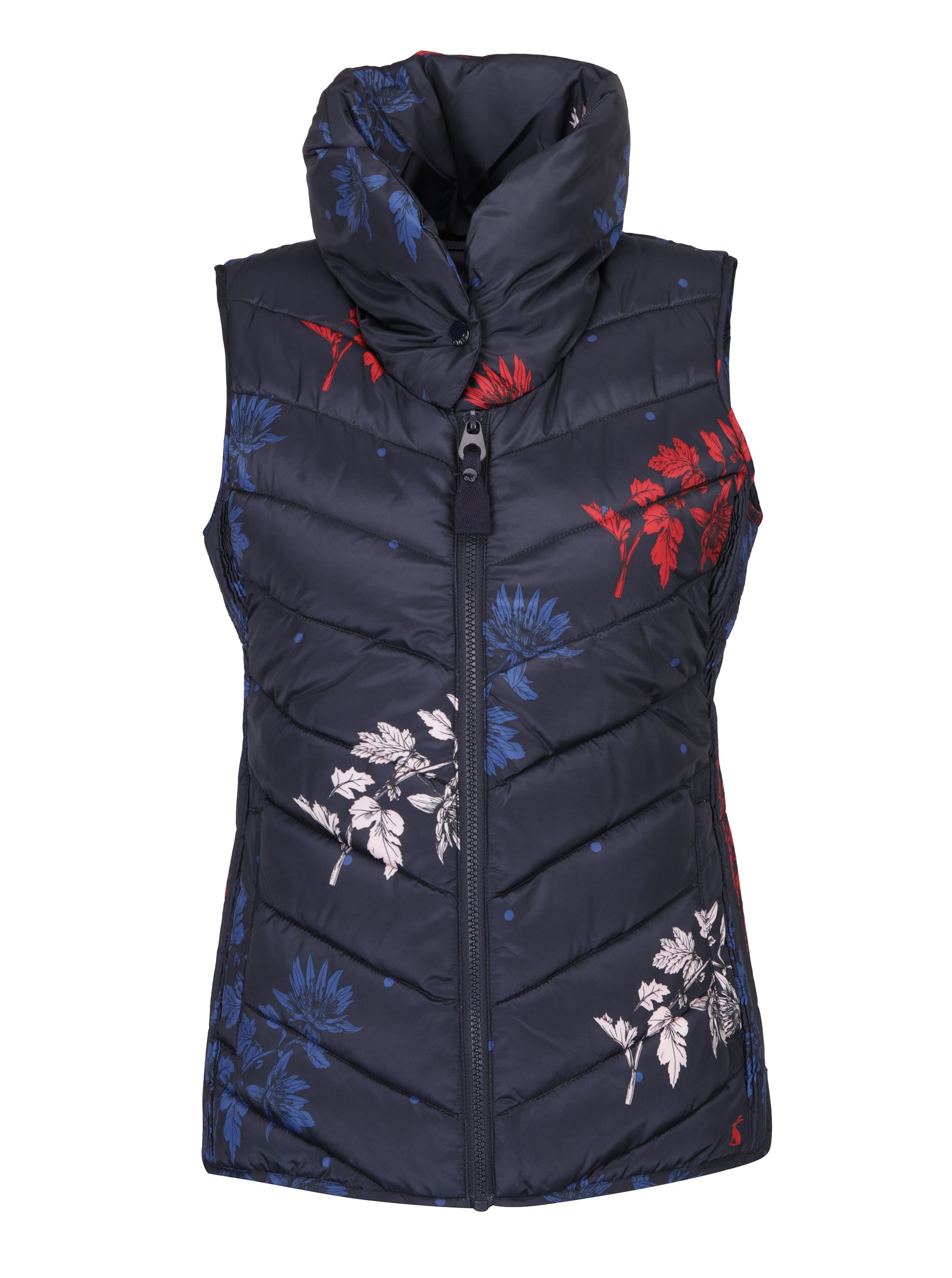 Tmavě modrá dámská květovaná prošívaná vesta Tom Joule
