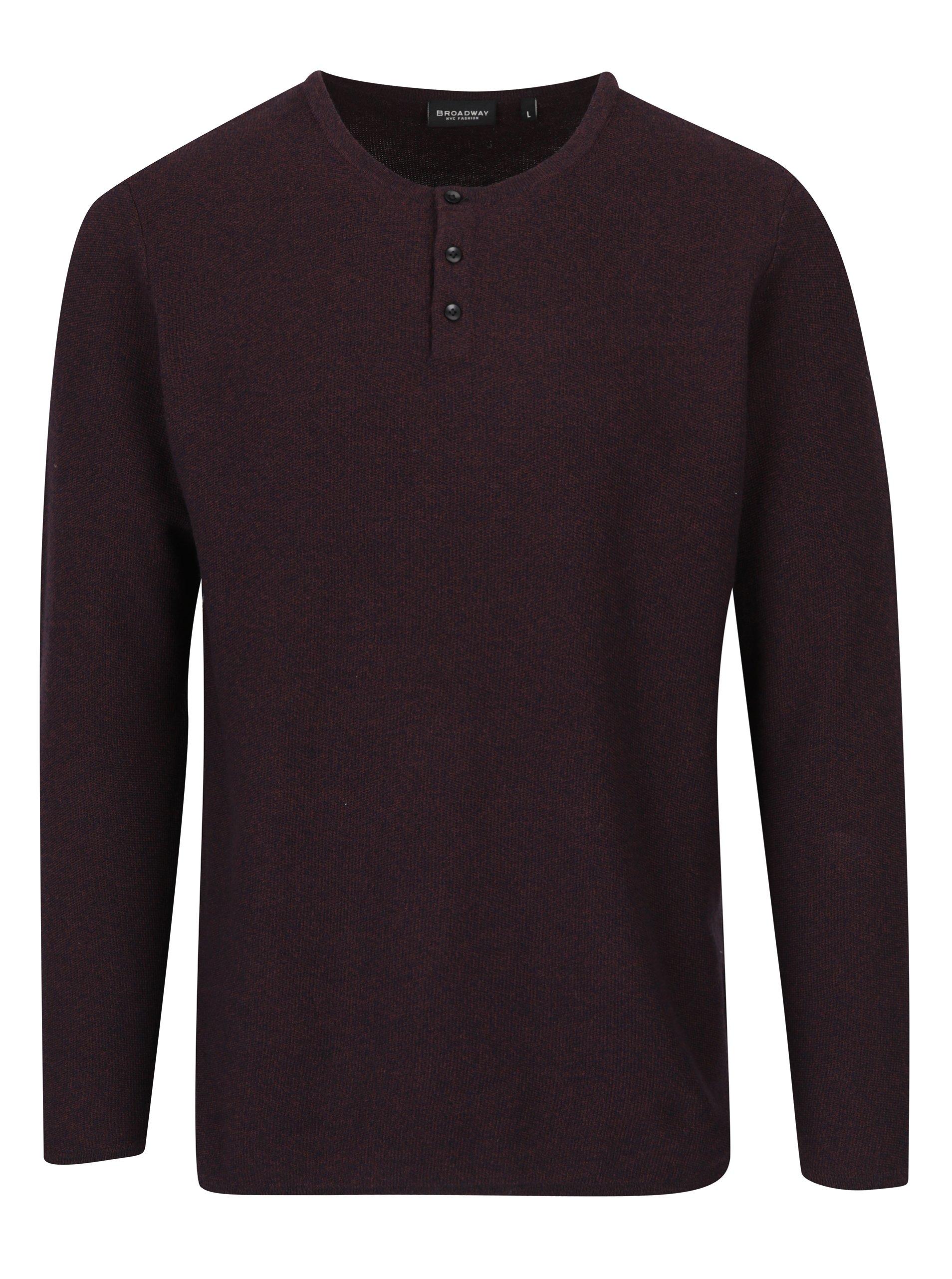 Tmavě fialový pánský žíhaný svetr s knoflíky Broadway Nessim