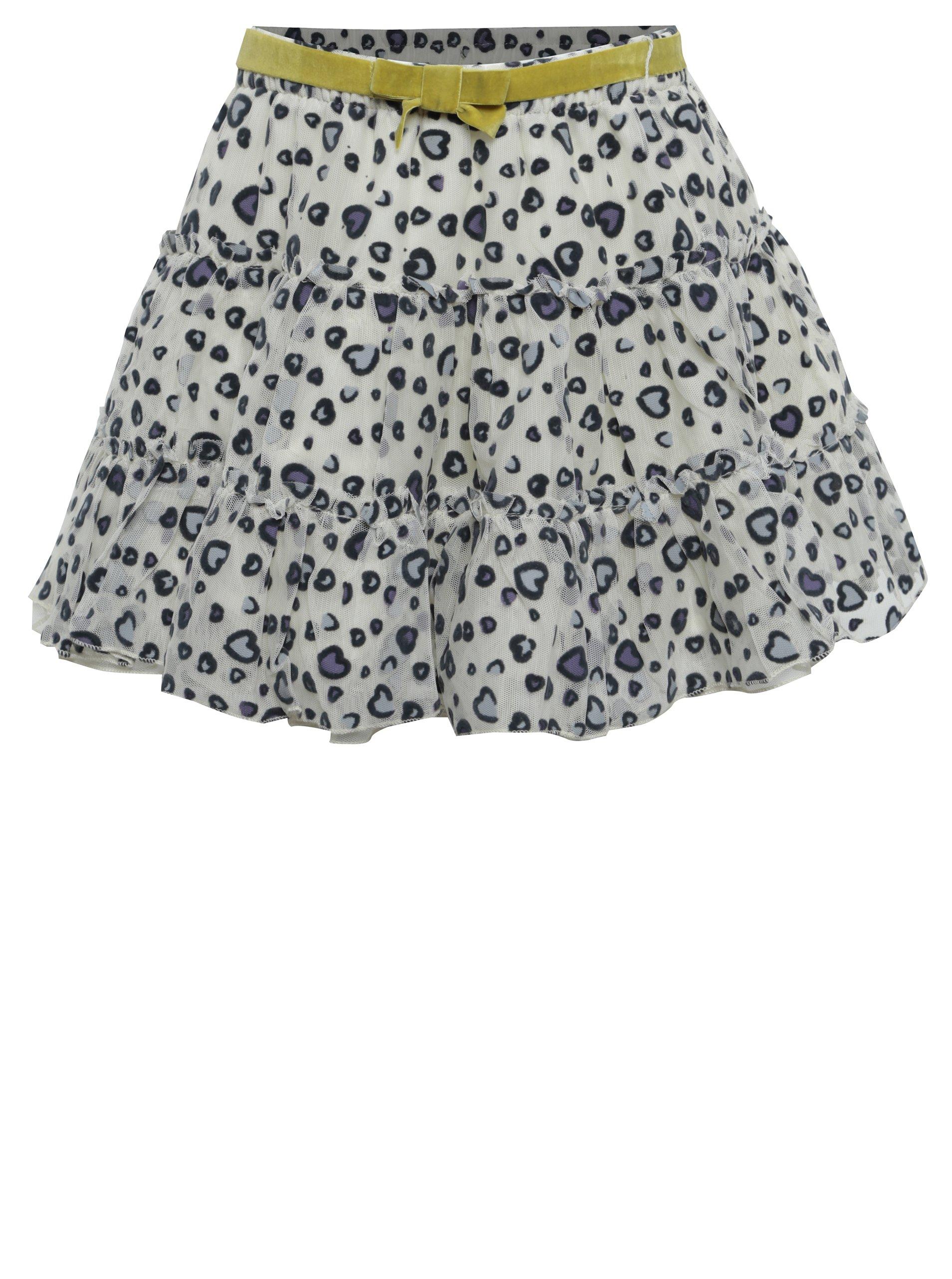 Krémová holčičí tylová vzorovaná sukně s páskem a volány BÓBOLI