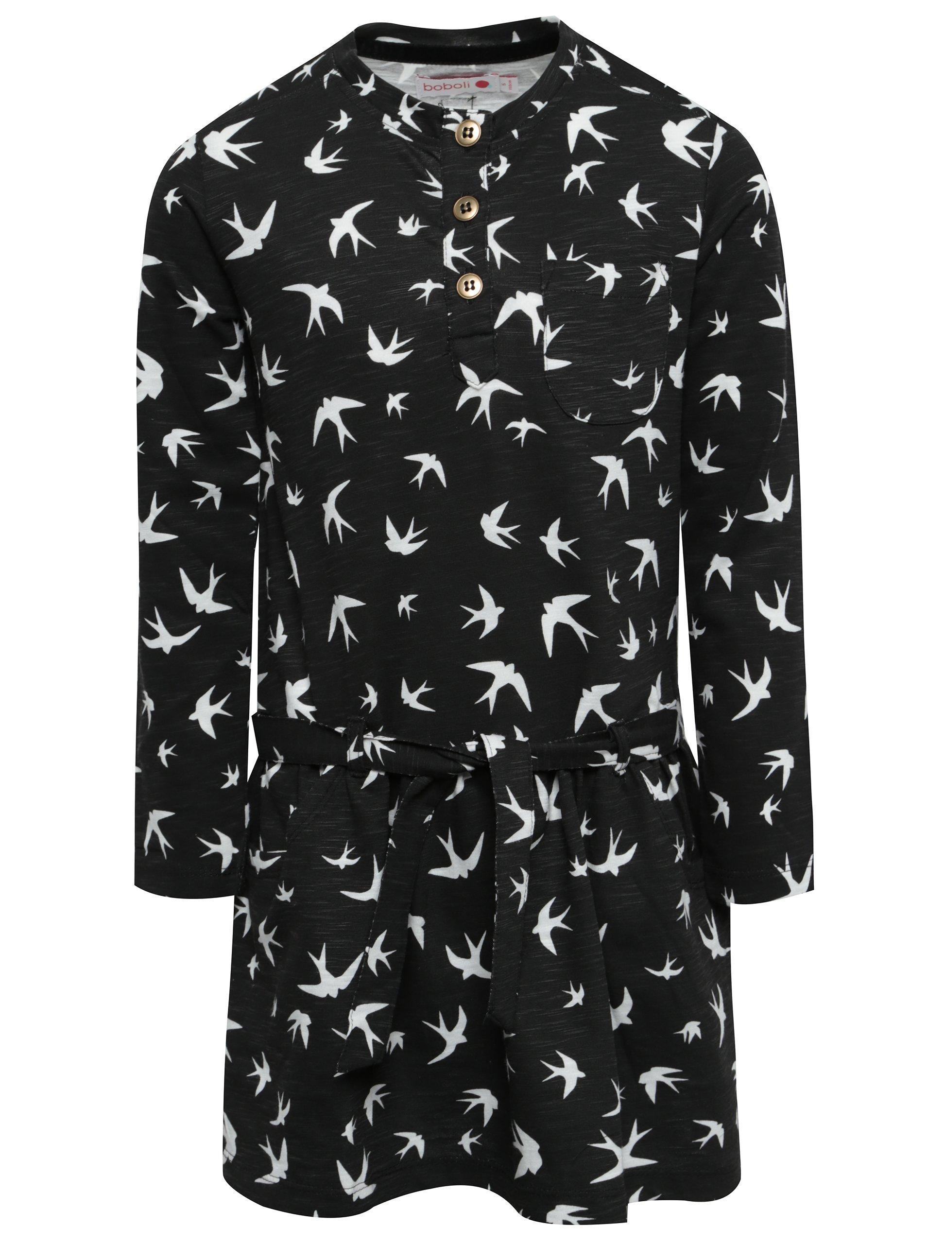 Černé holčičí šaty s páskem a motivem ptáčků BÓBOLI